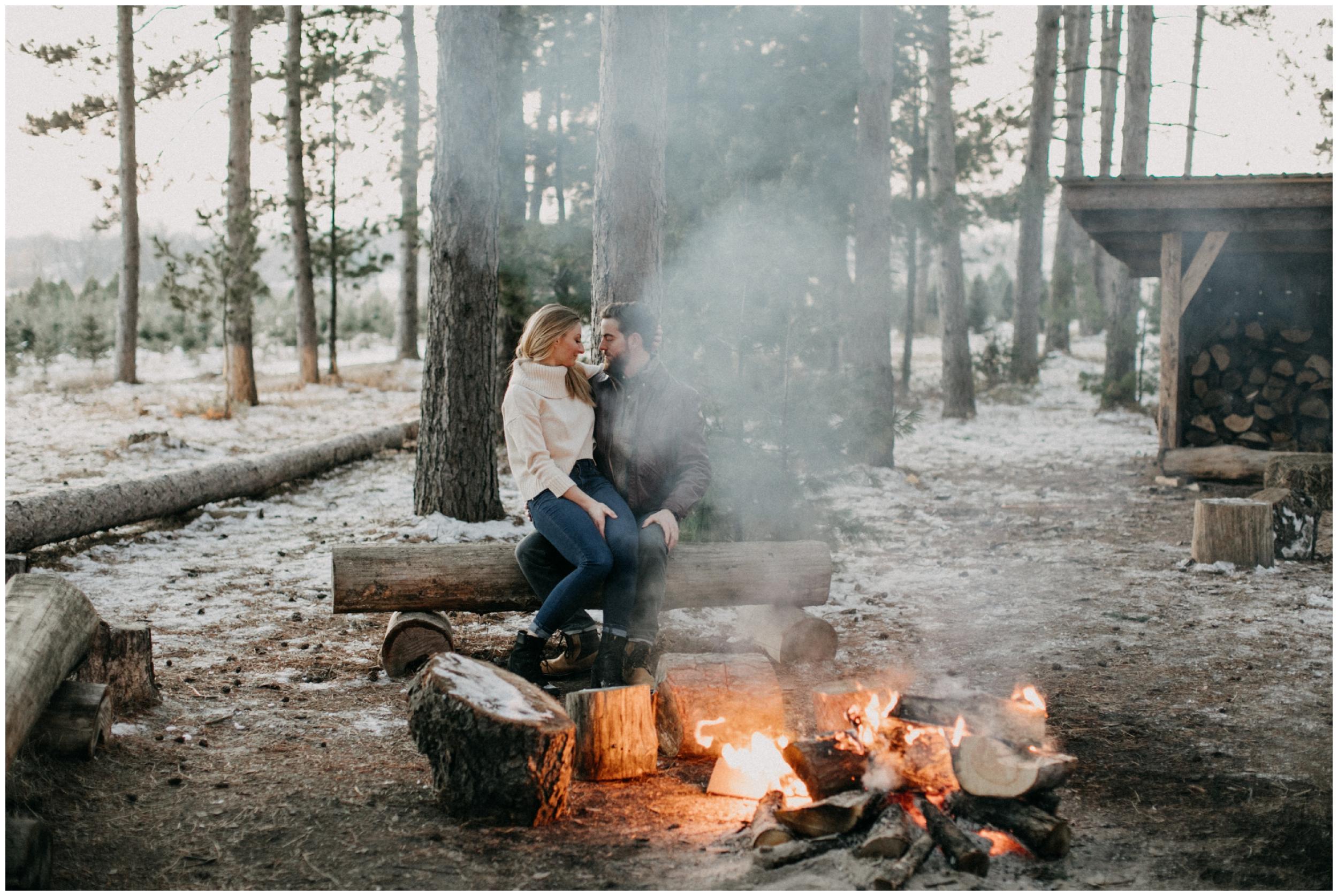 Romantic campfire engagement by Brainerd Minnesota photographer Britt DeZeeuw