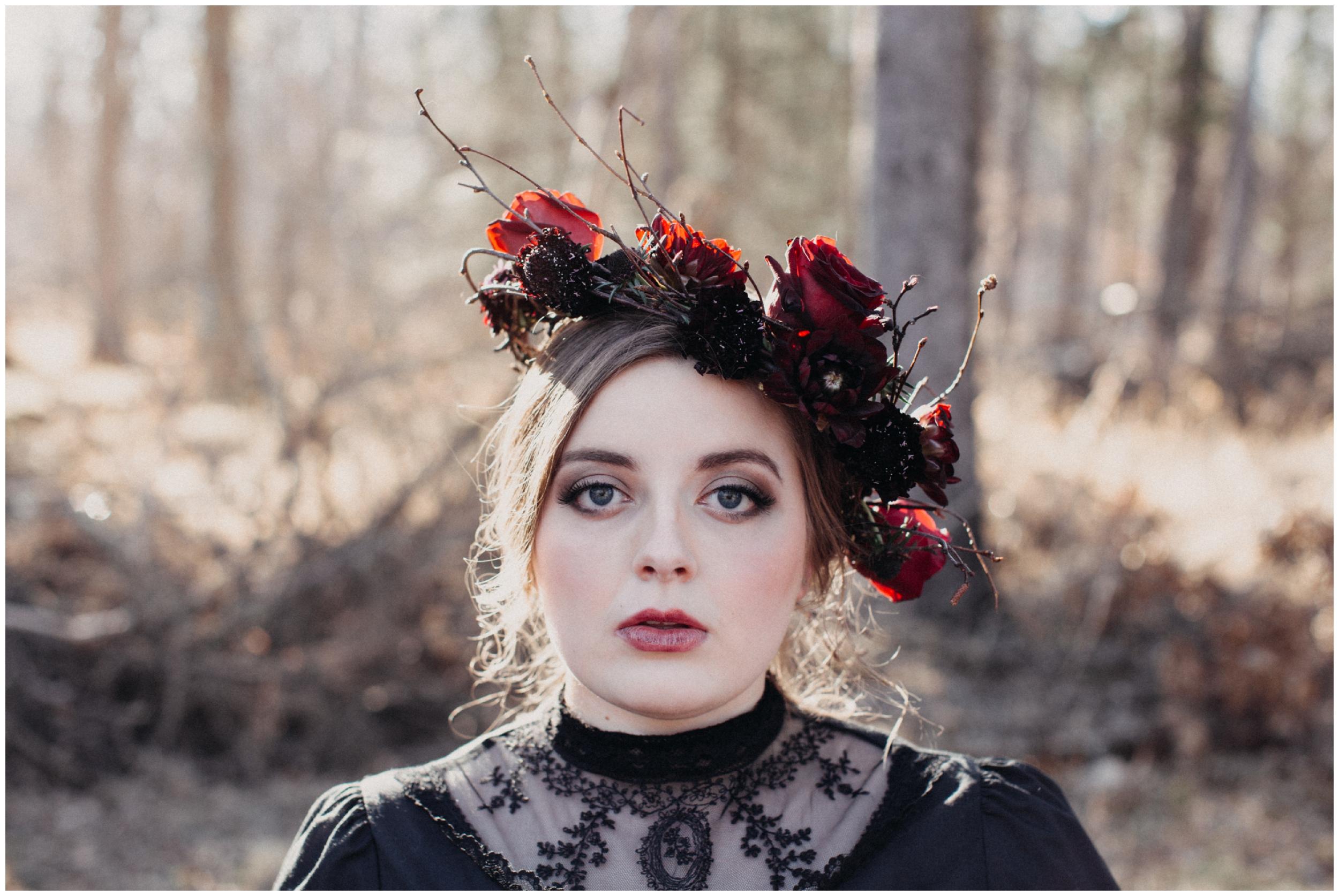 Dark and romantic bridal portrait session in the woods, by Minnesota photographer Britt DeZeeuw