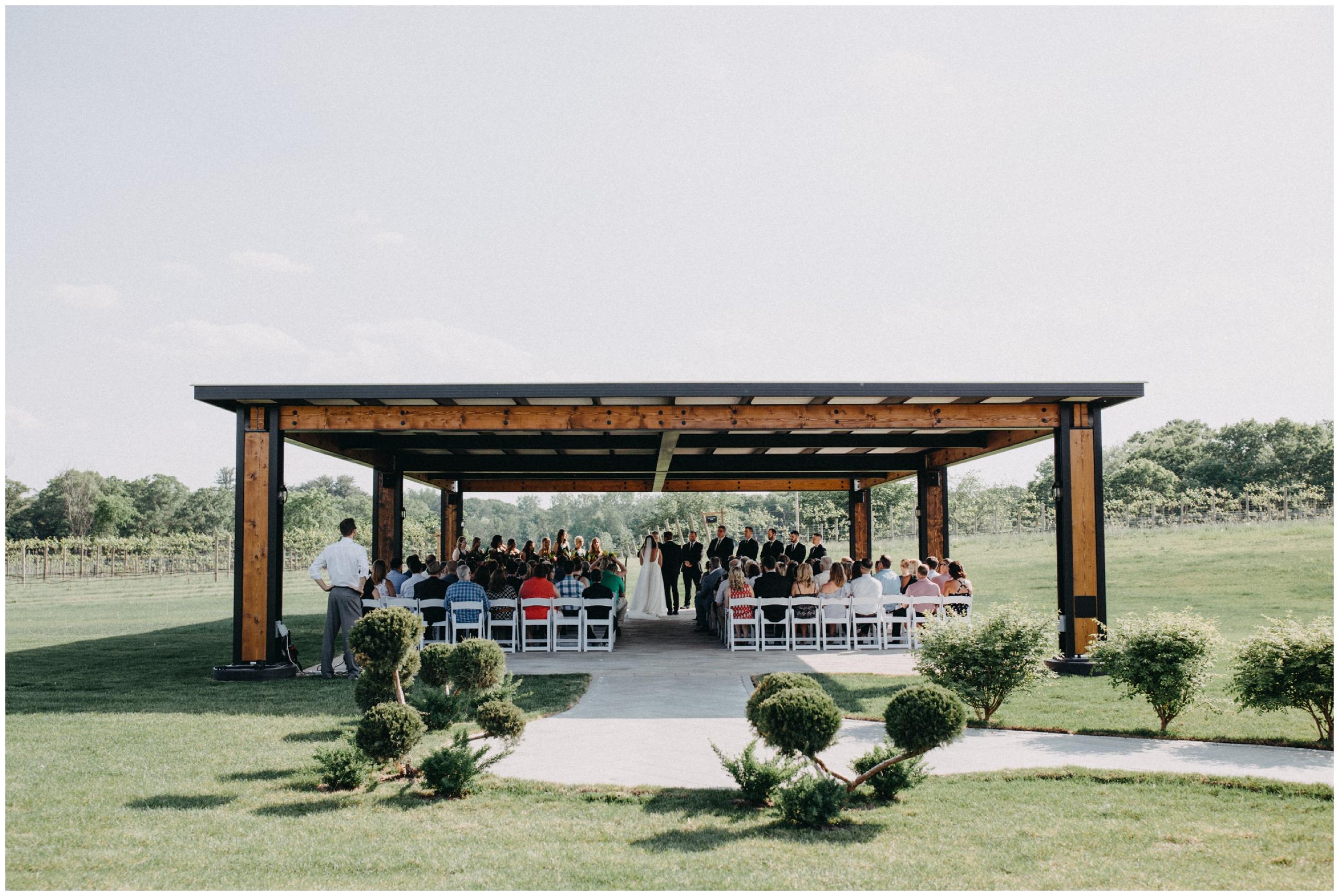 Outdoor vineyard wedding ceremony in Minnesota