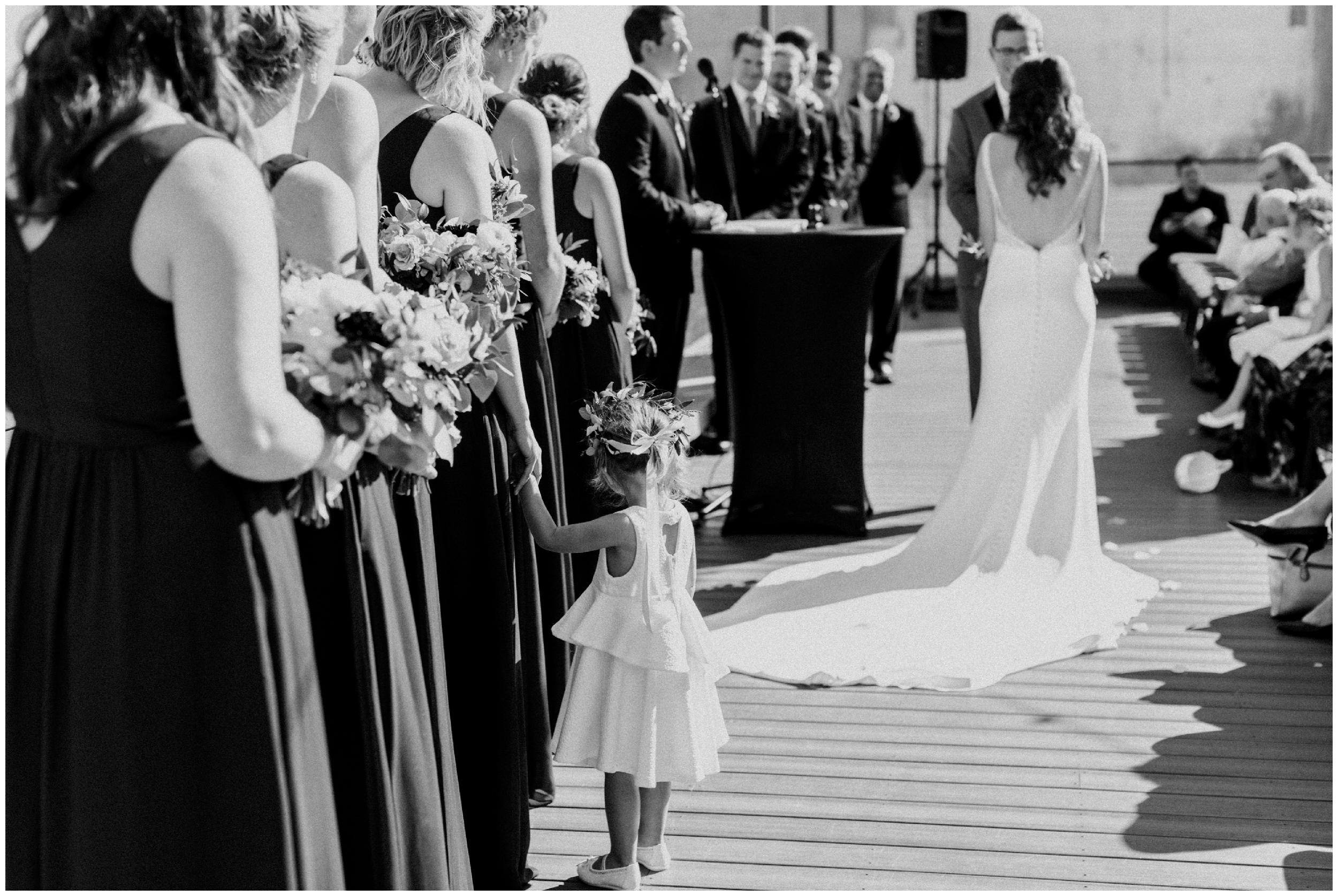 Flower girl at Duluth, Minnesota wedding ceremony