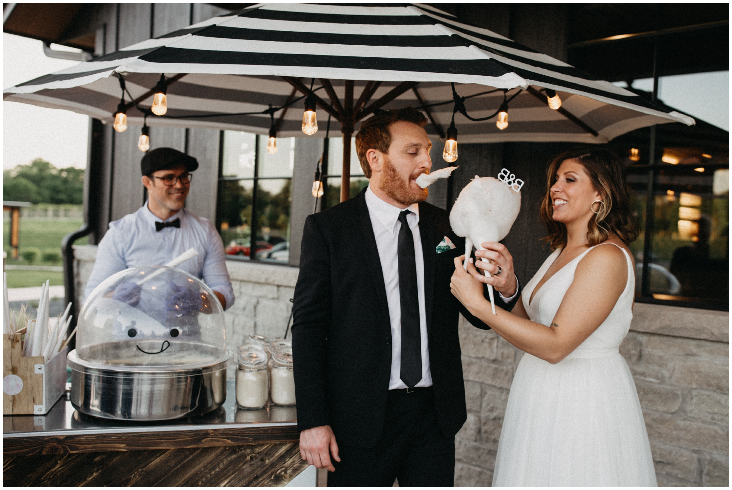 Spinning Wylde cotton candy cart at Minnesota wedding