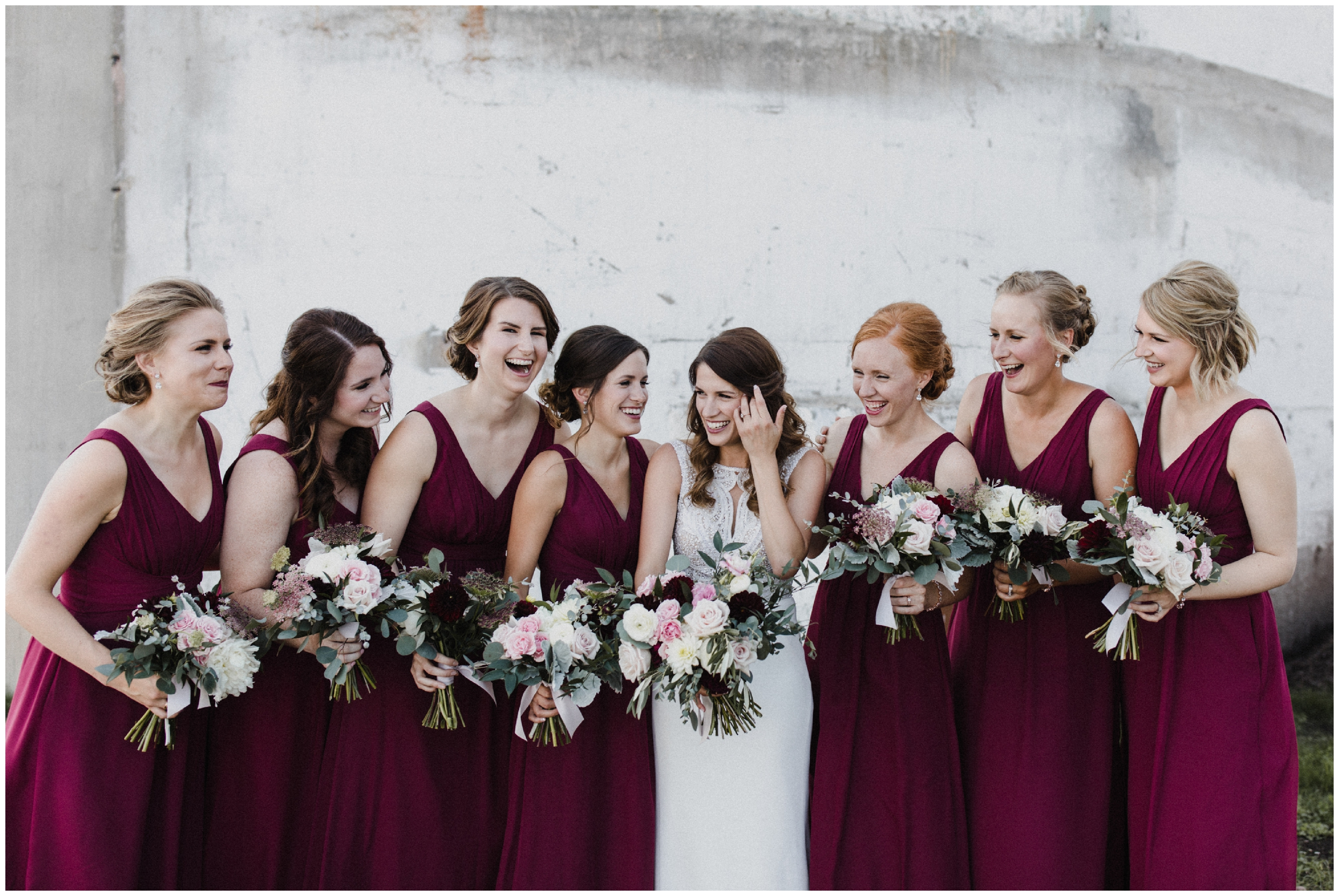 Bride and bridesmaids at industrial chic wedding in Duluth Minnesota