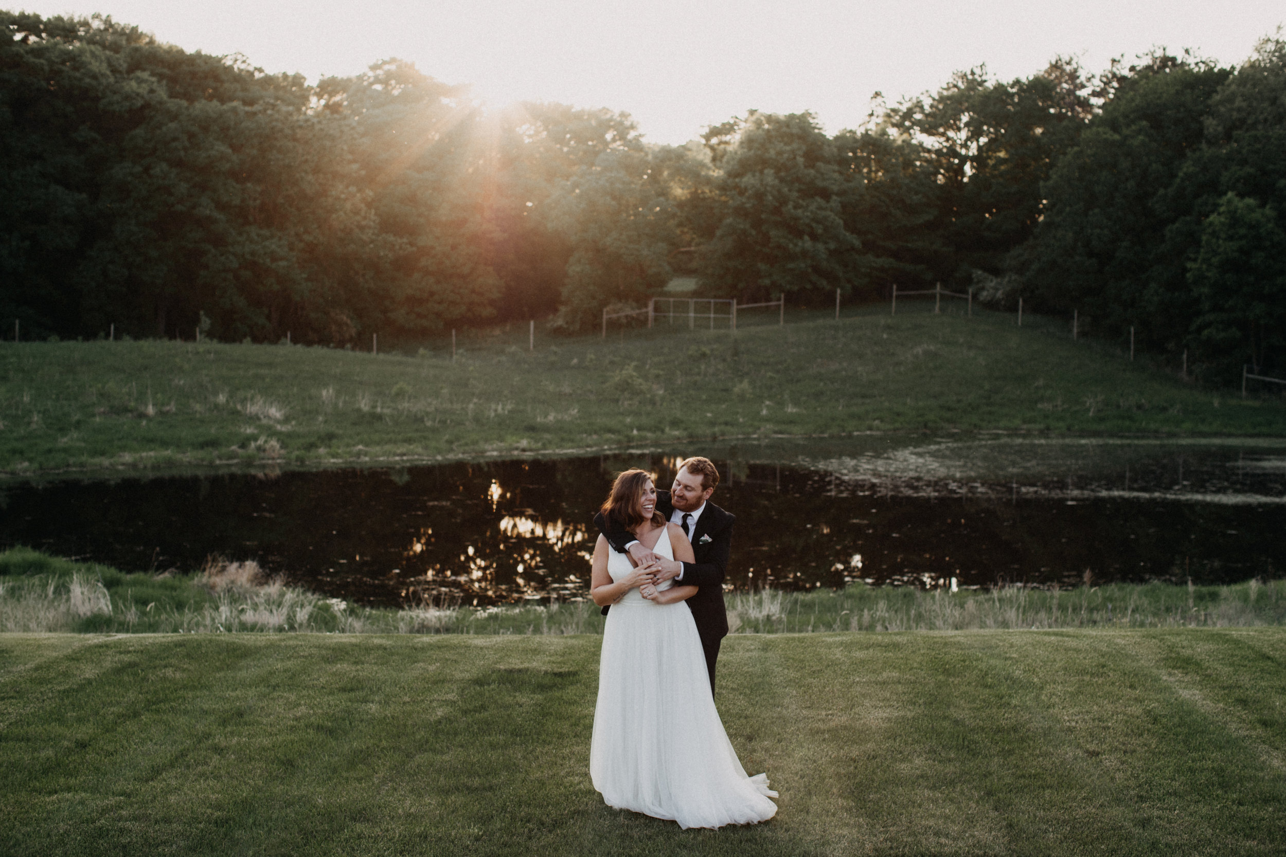 Bride and groom during sunset at Minnesota winery wedding
