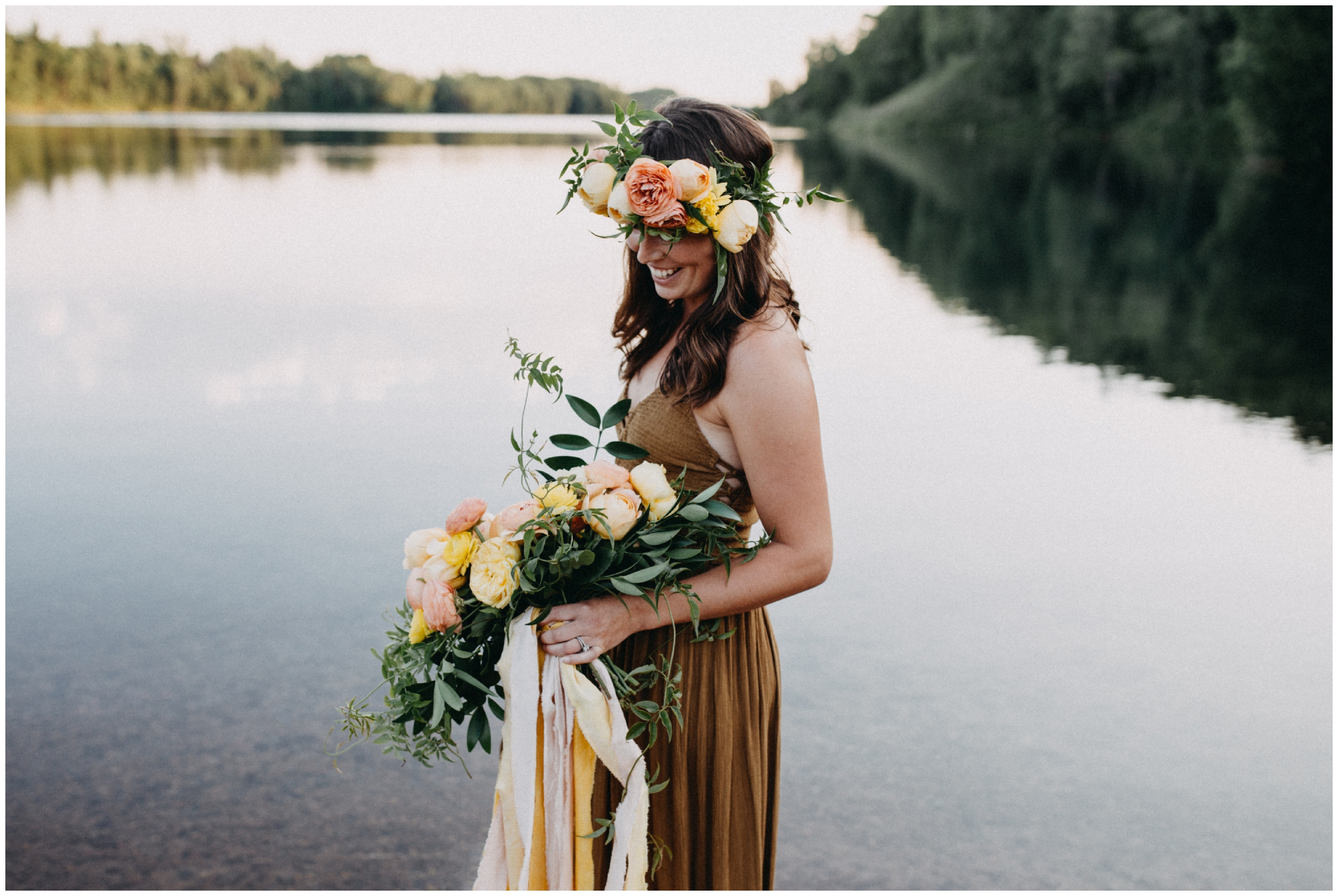 Boho styled portrait session with flower crown photographed by Brainerd Minnesota photographer Britt DeZeeuw