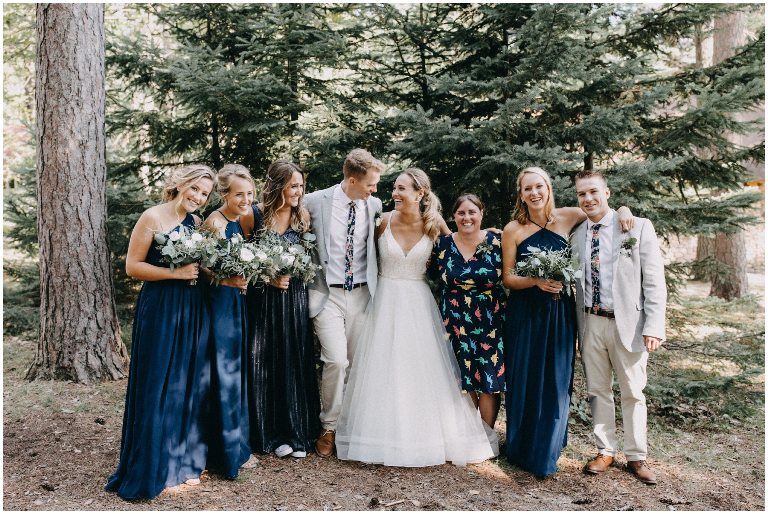 Casual and candid family portrait at Camp Foley wedding photographed by Britt DeZeeuw