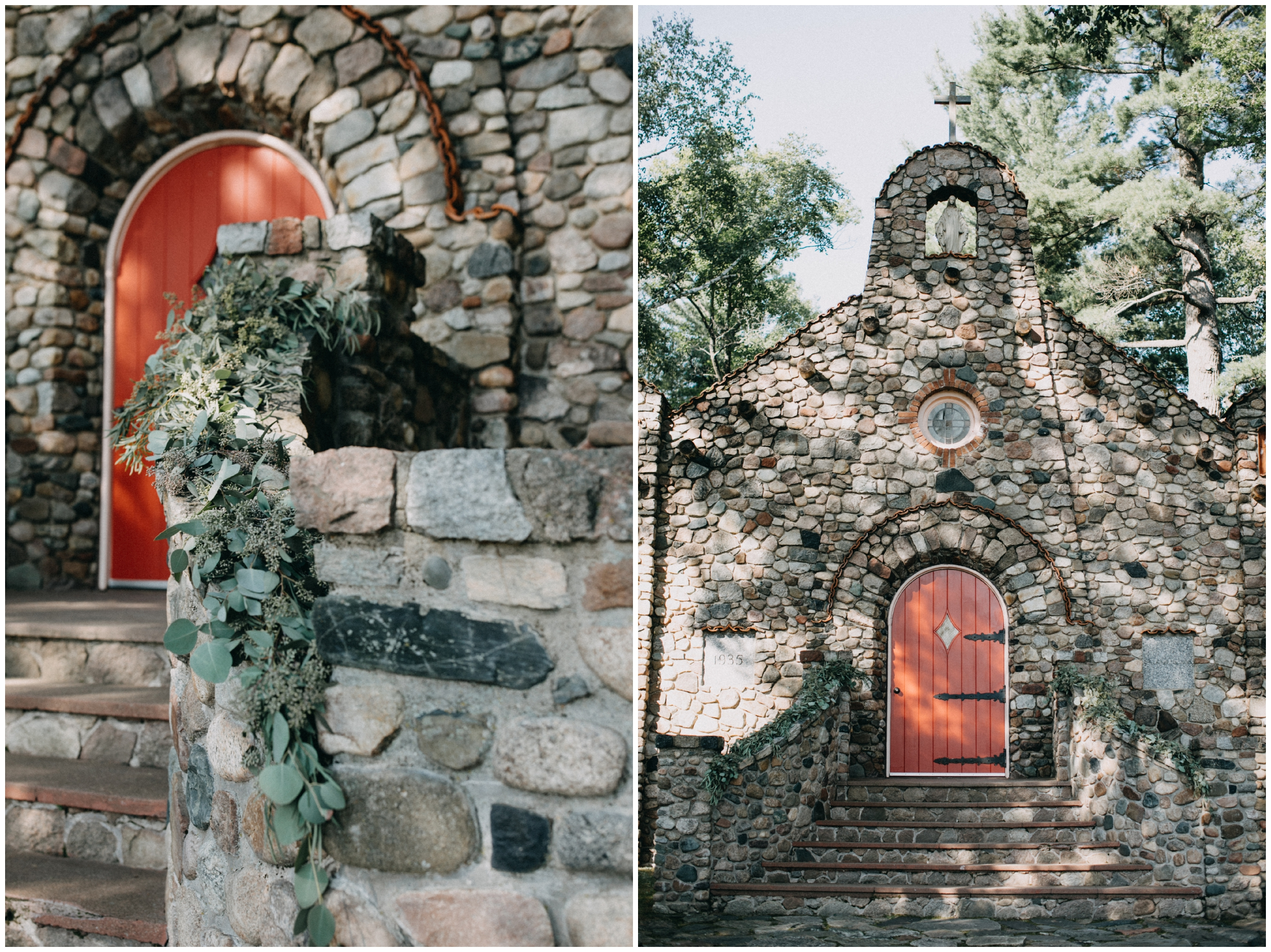Elegant stone chapel wedding in the woods at camp foley, pine river mn