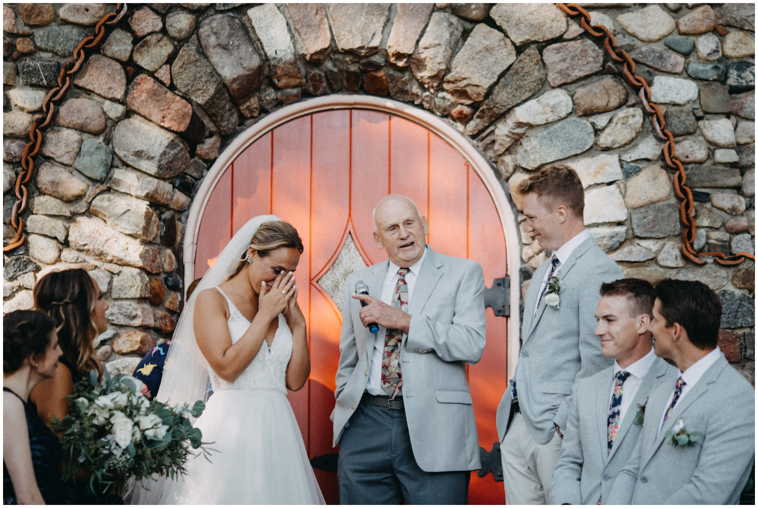 Emotional stone chapel wedding ceremony at Camp Foley