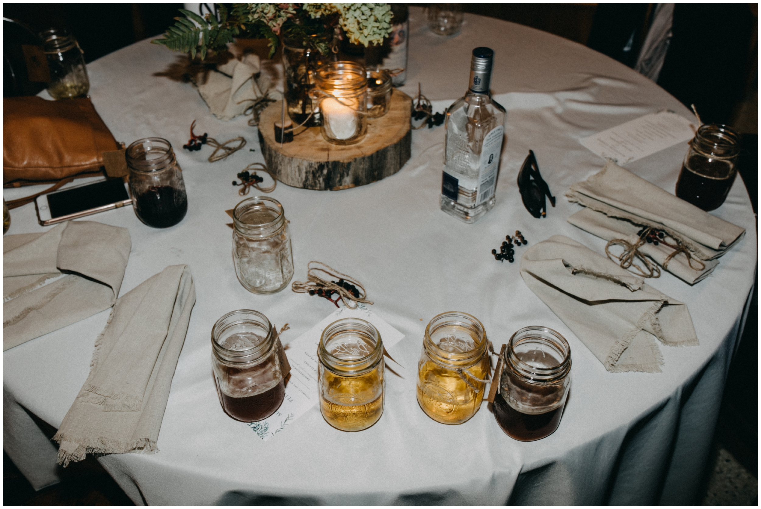Wedding reception table at the end of the night at Camp Foley