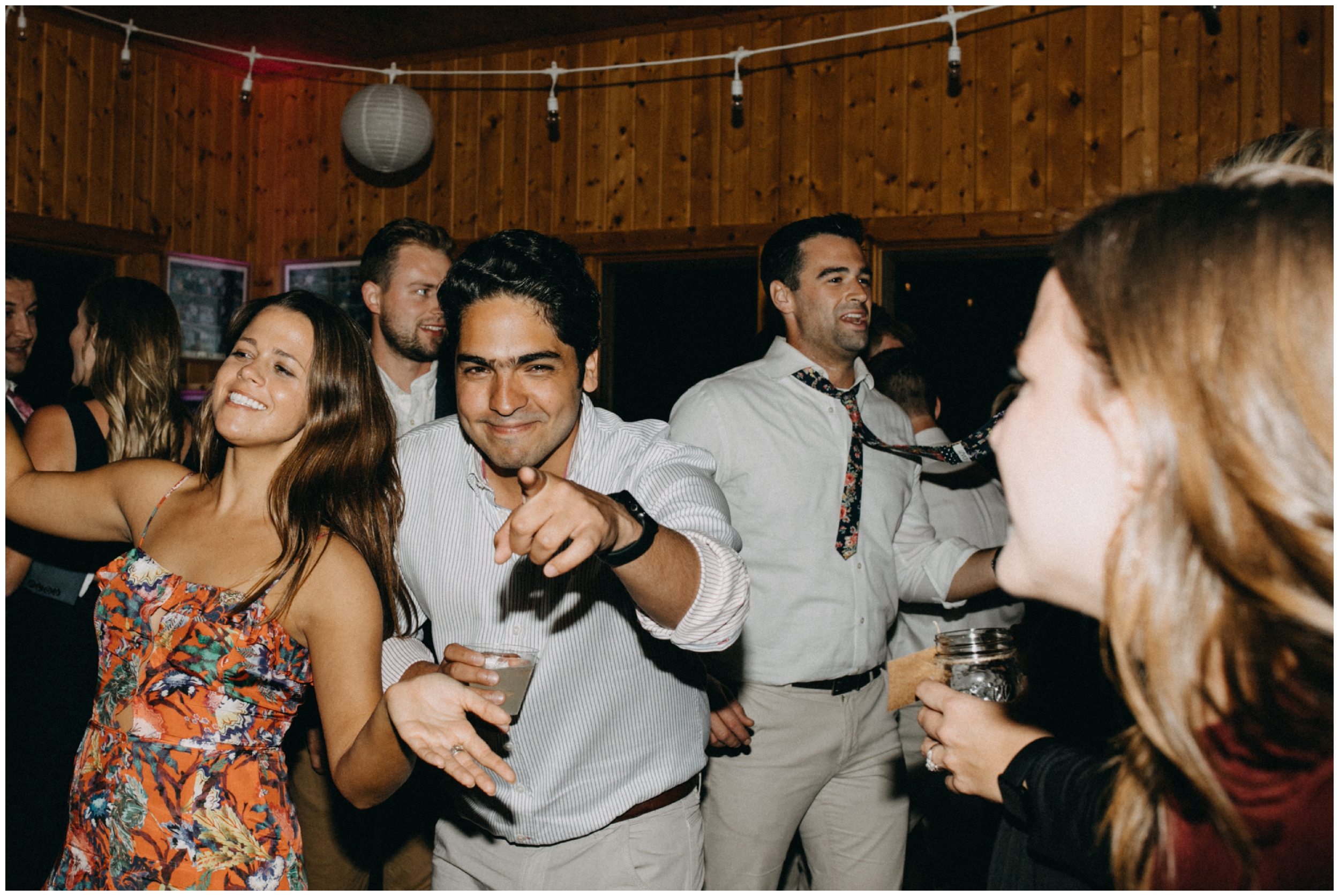 Wedding guests dancing at Camp Foley in Pine River