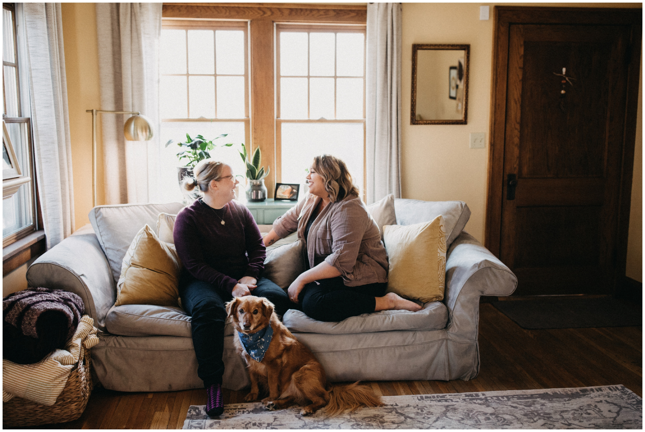 Cozy engagement session at home in Minneapolis Minnesota