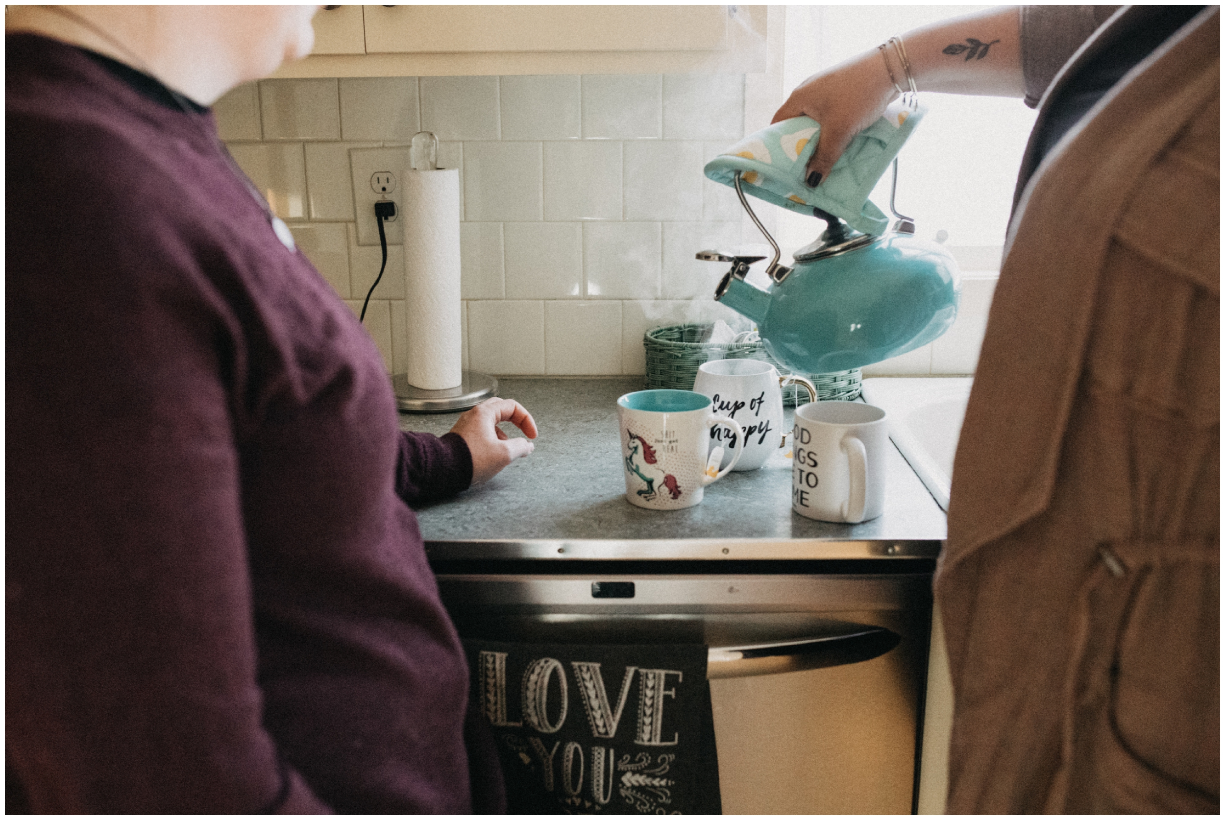 Lifestyle engagement session at home with tea in Minneapolis
