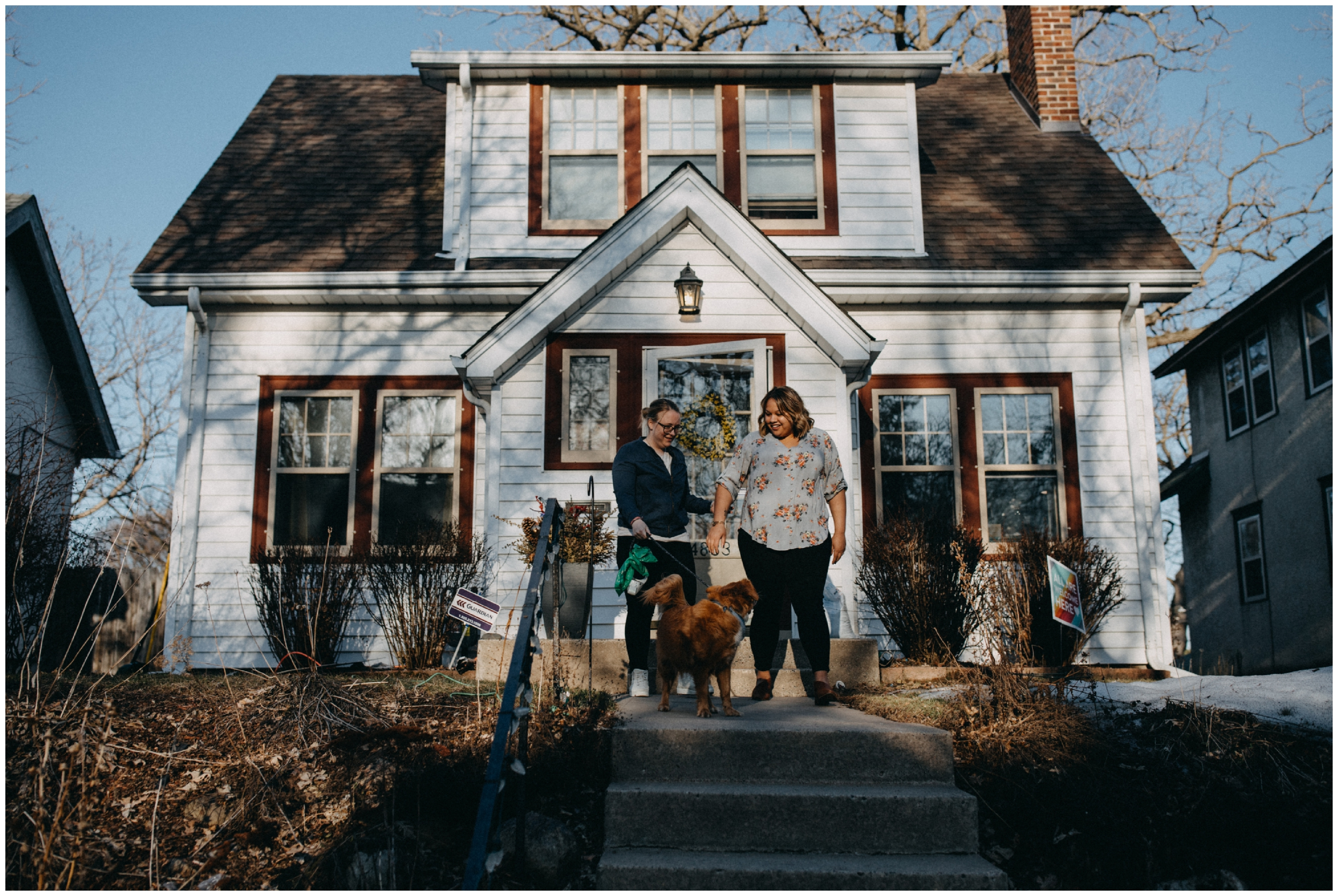 Candid lifestyle engagement photography with dog in Minneapolis Minnesota