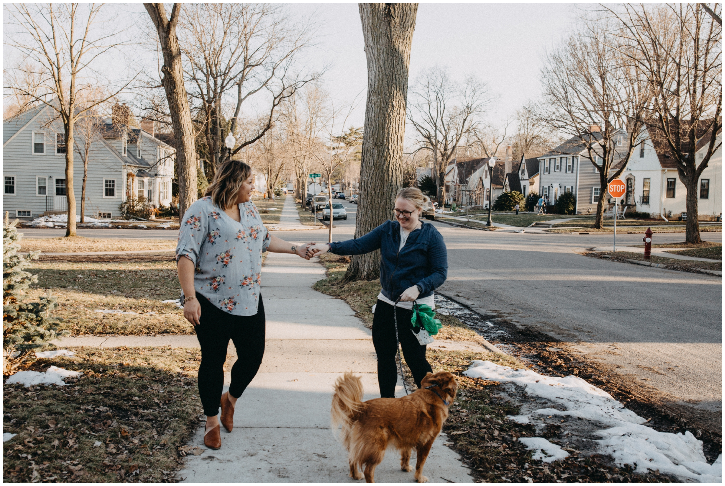Casual Minneapolis engagement session with dog