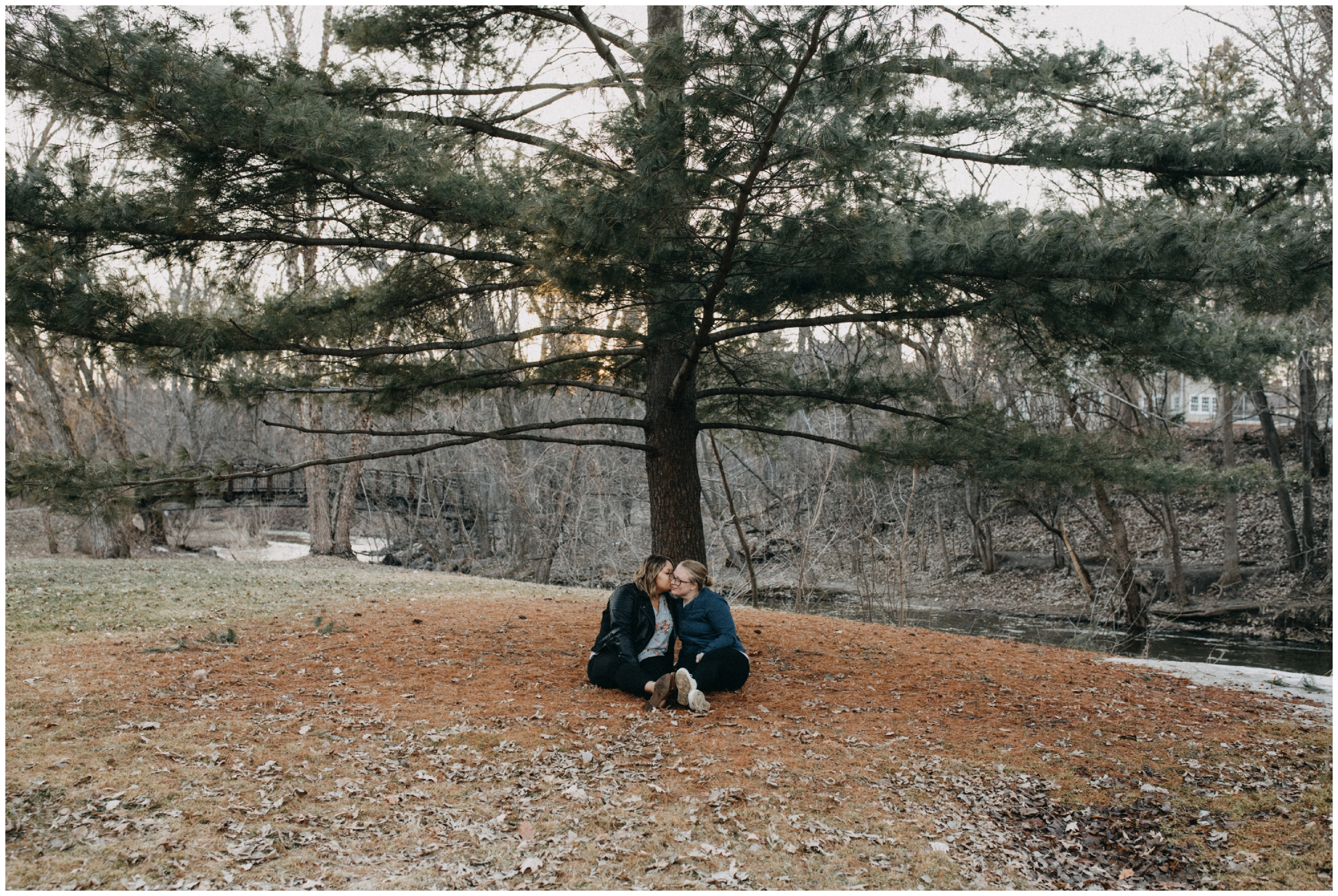 Minneapolis engagement session at Minnehaha park in early spring