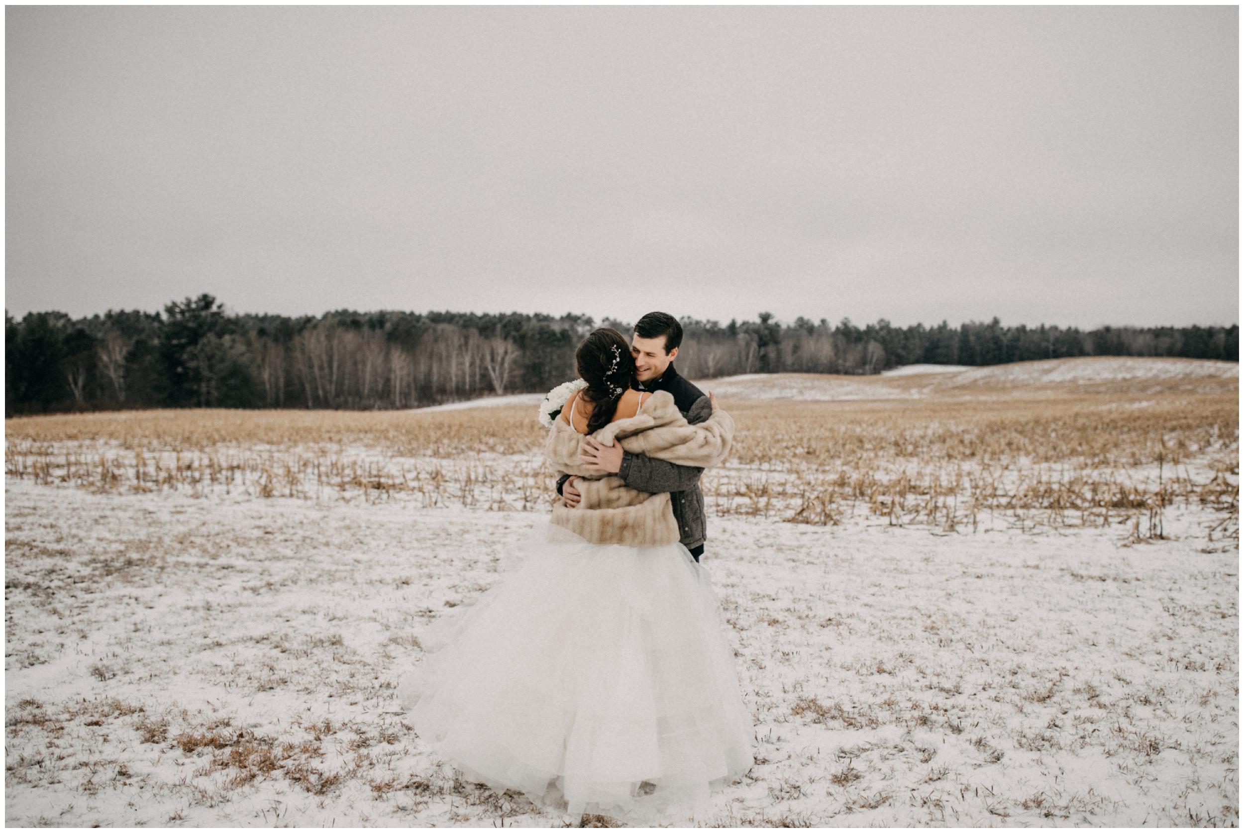 Romantic snowy wedding at Pine Peaks in Crosslake Minnesota