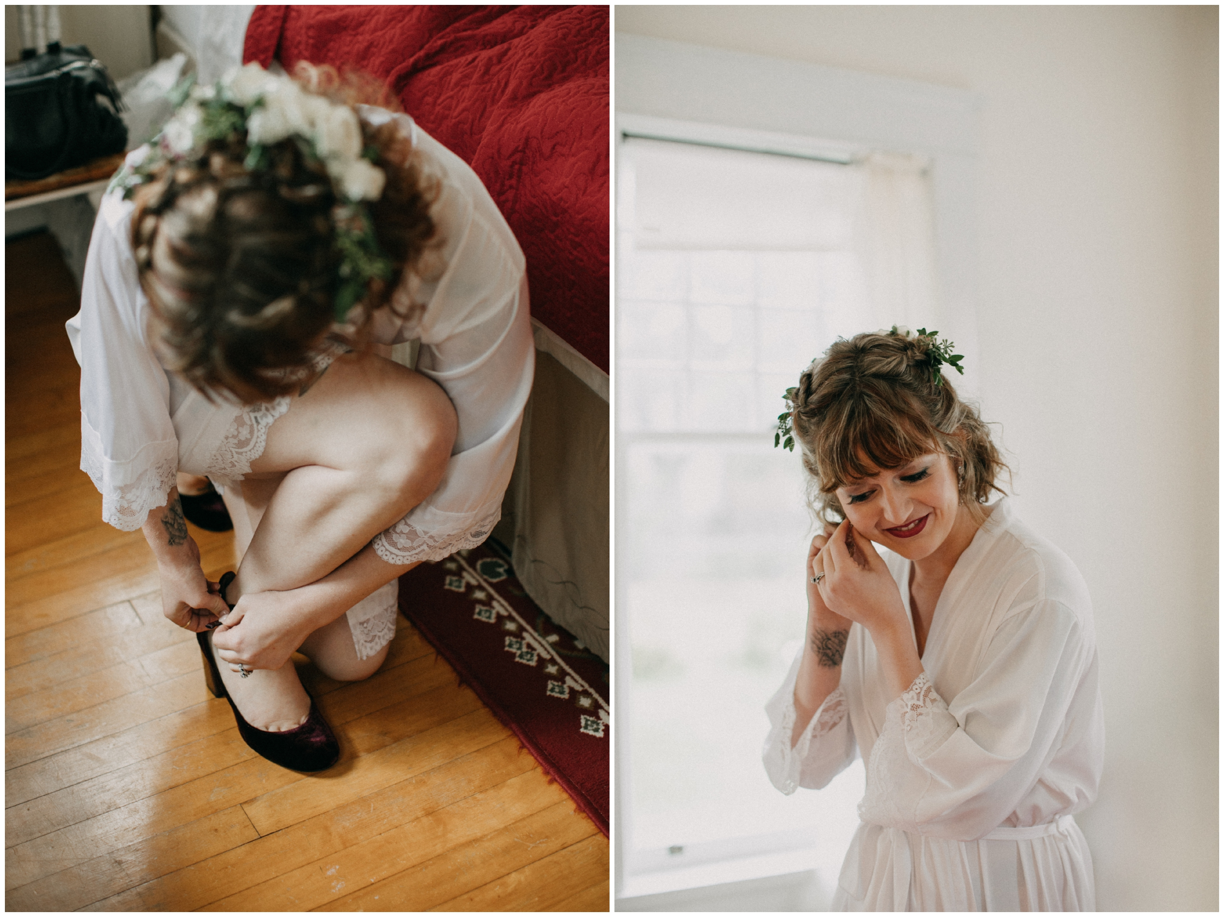 Bride getting ready for romantic chic wedding in Duluth