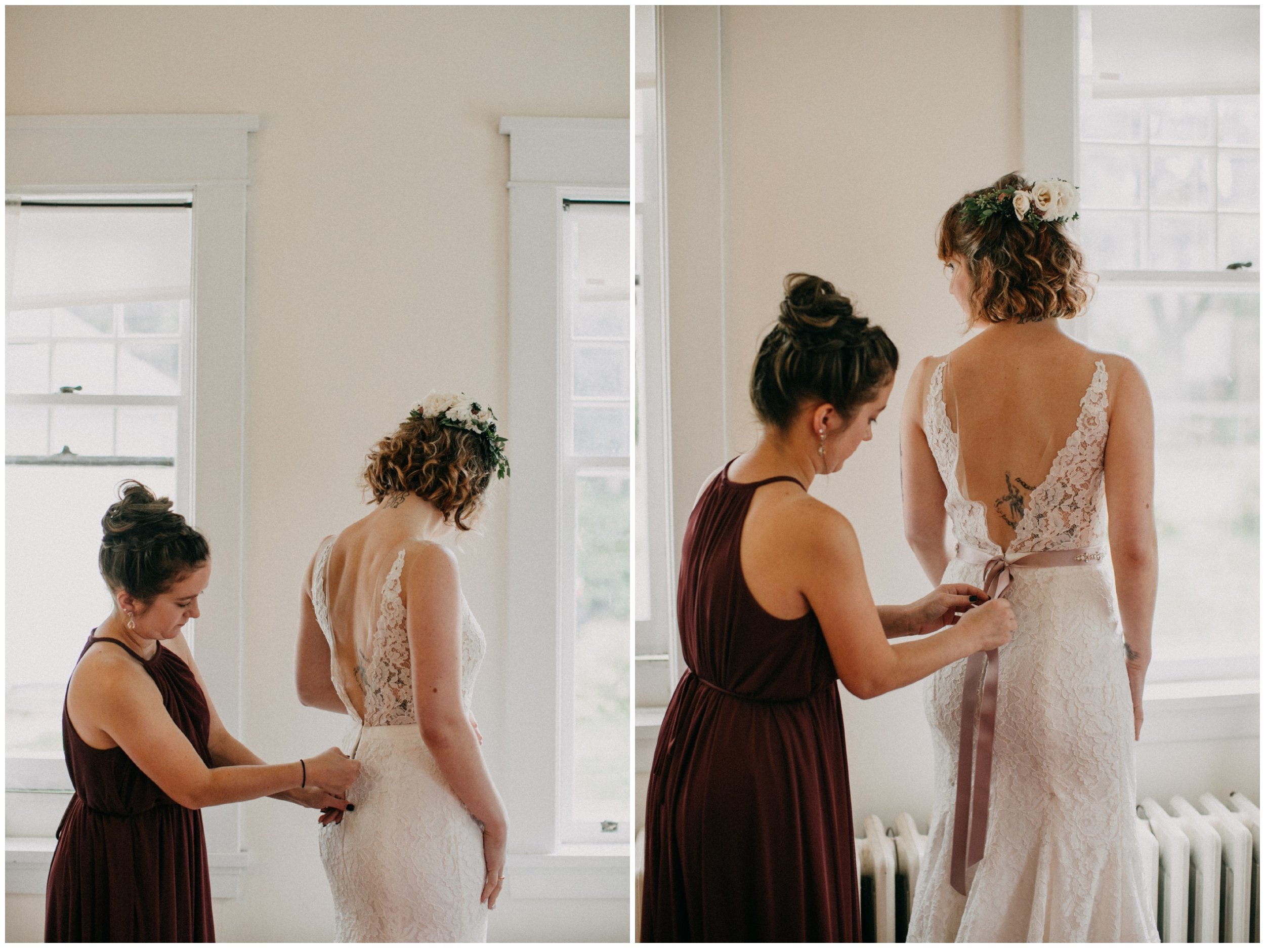 Bride getting into wedding dress at home in Duluth Minnesota