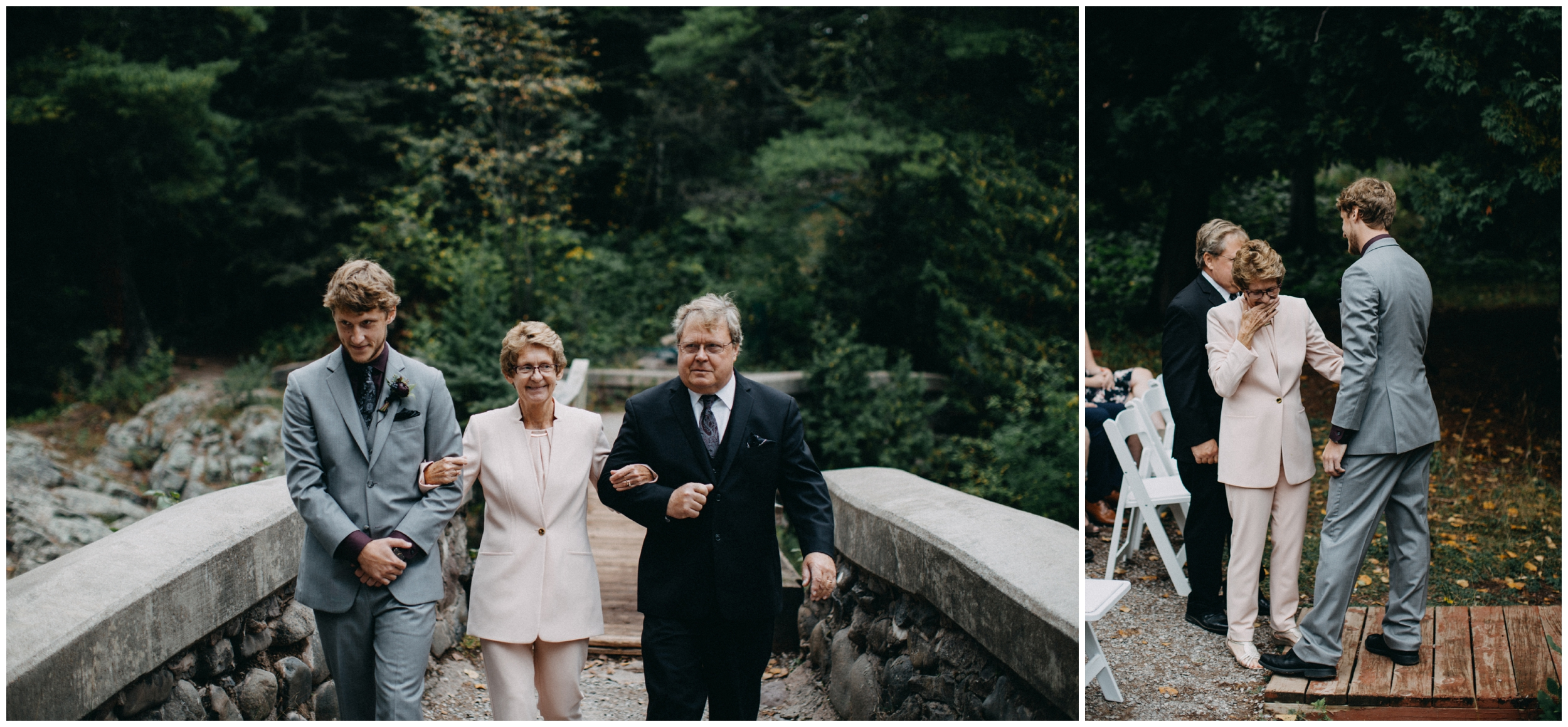 Intimate wedding ceremony in the woods at Lester Park in Duluth Minnesota