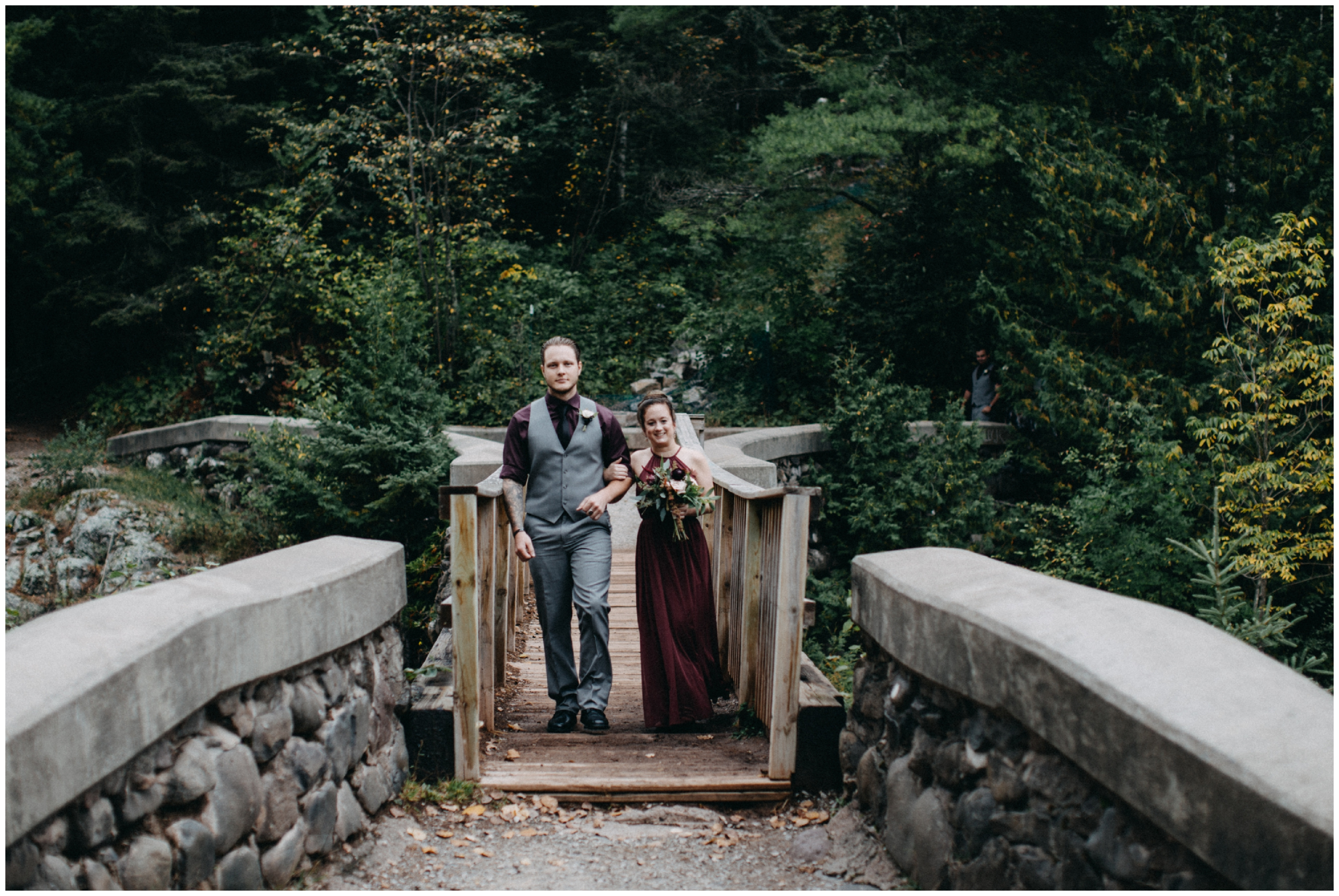 Wedding ceremony in the woods at Lester Park in Duluth MN