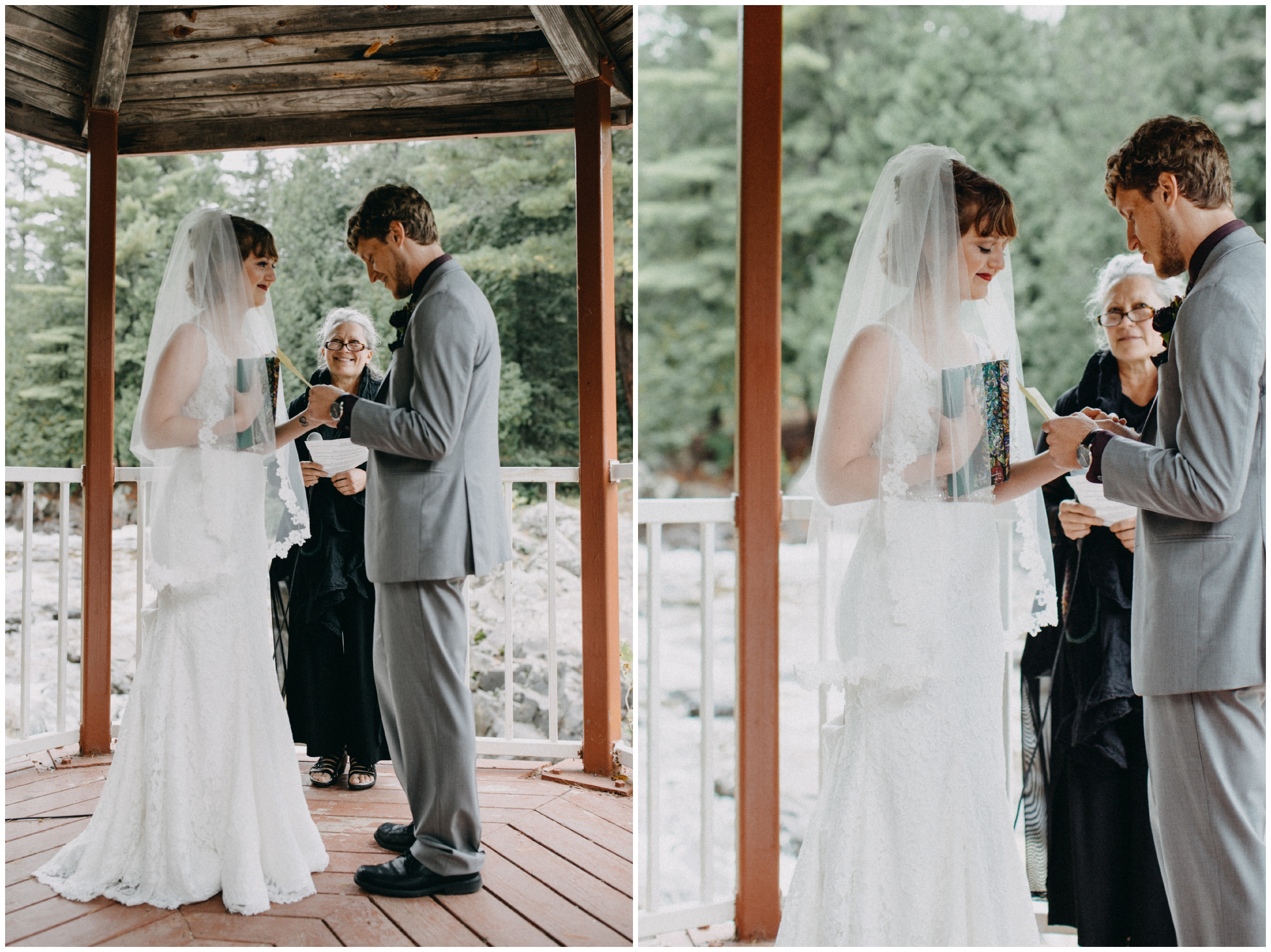 Intimate wedding ceremony at Lester River in Duluth MN