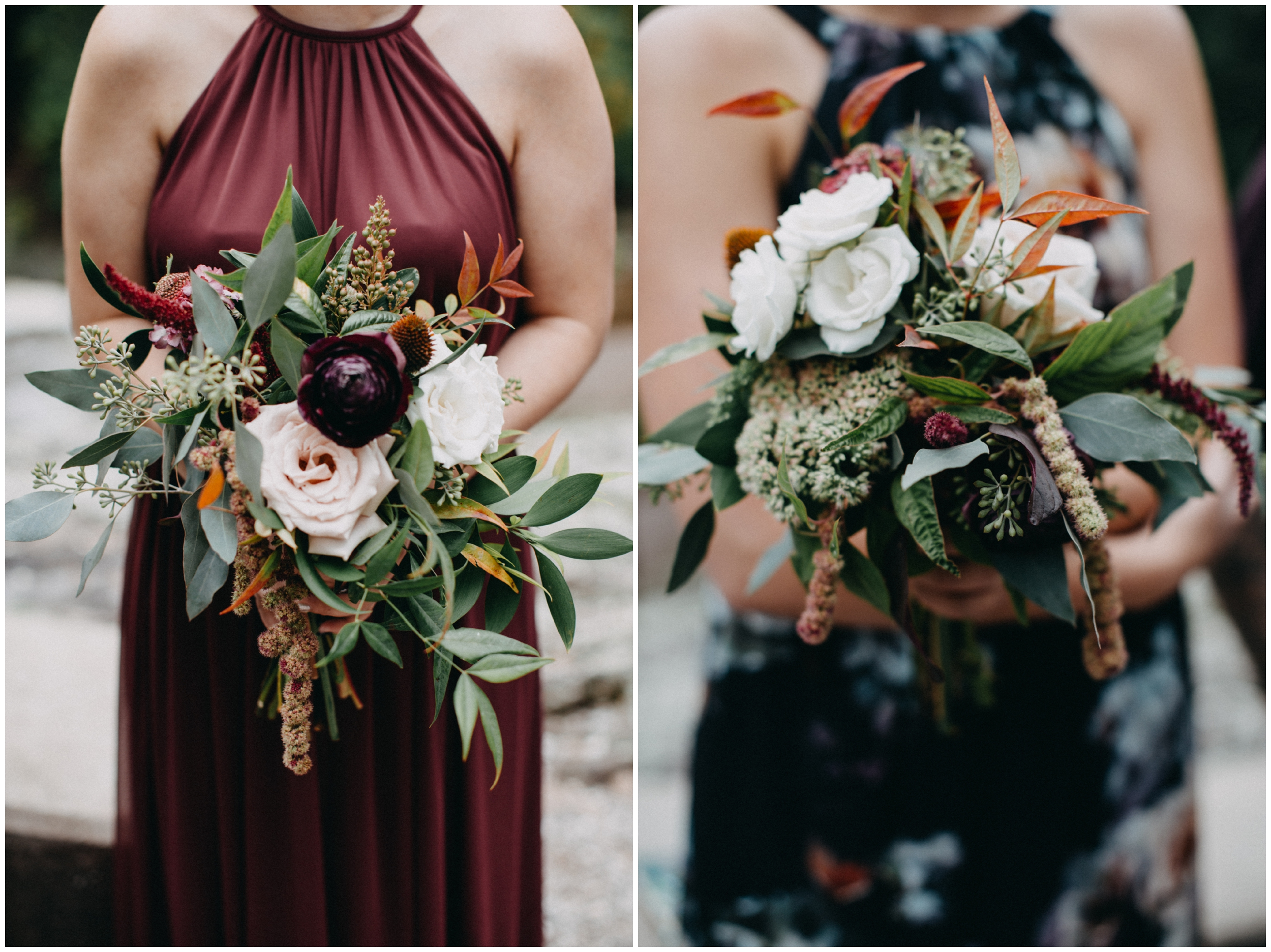 Beautiful bridesmaids wedding bouquet at Lester Park in Duluth