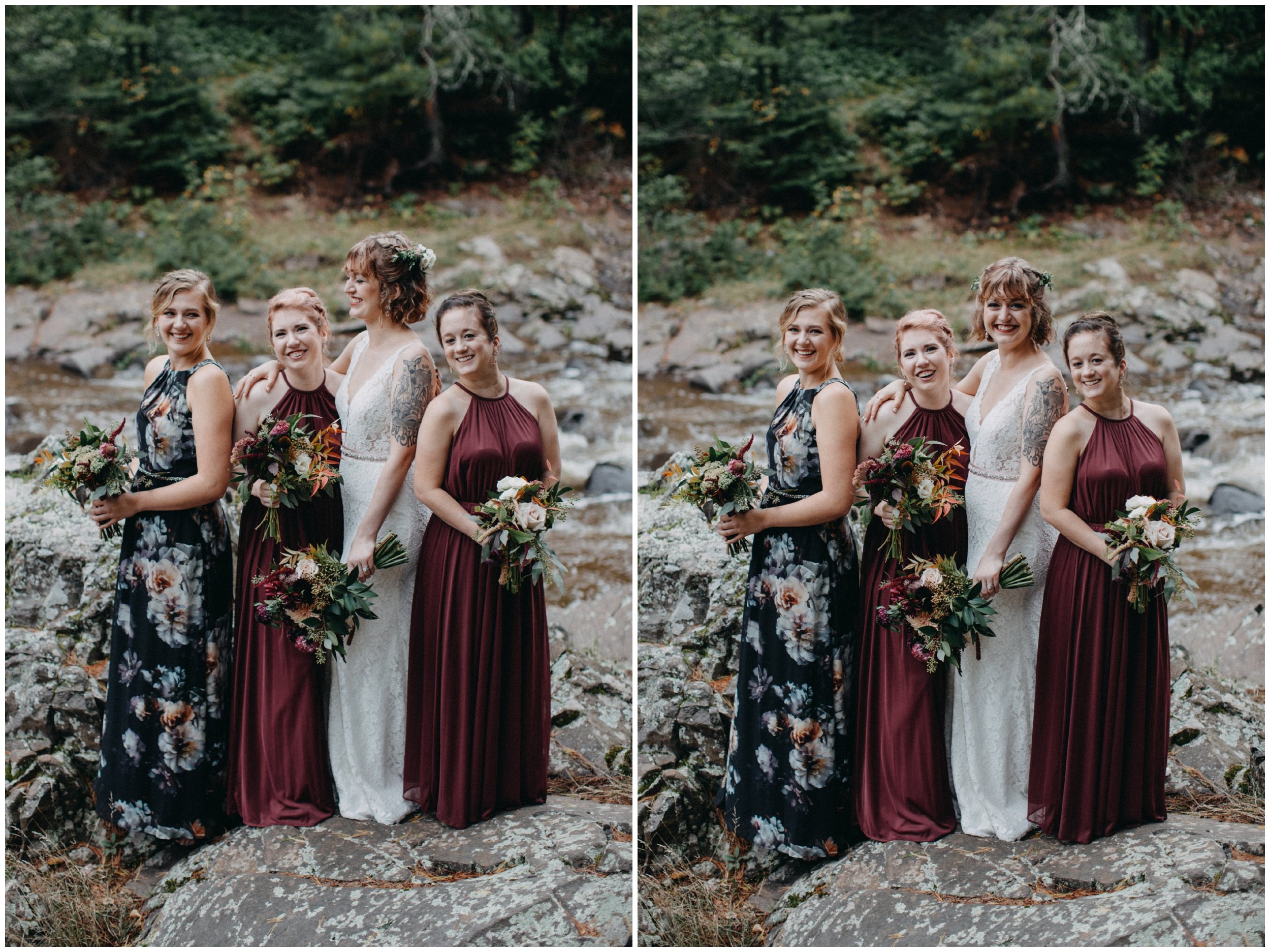 Bride and bridesmaids at intimate wedding in Duluth Minnesota