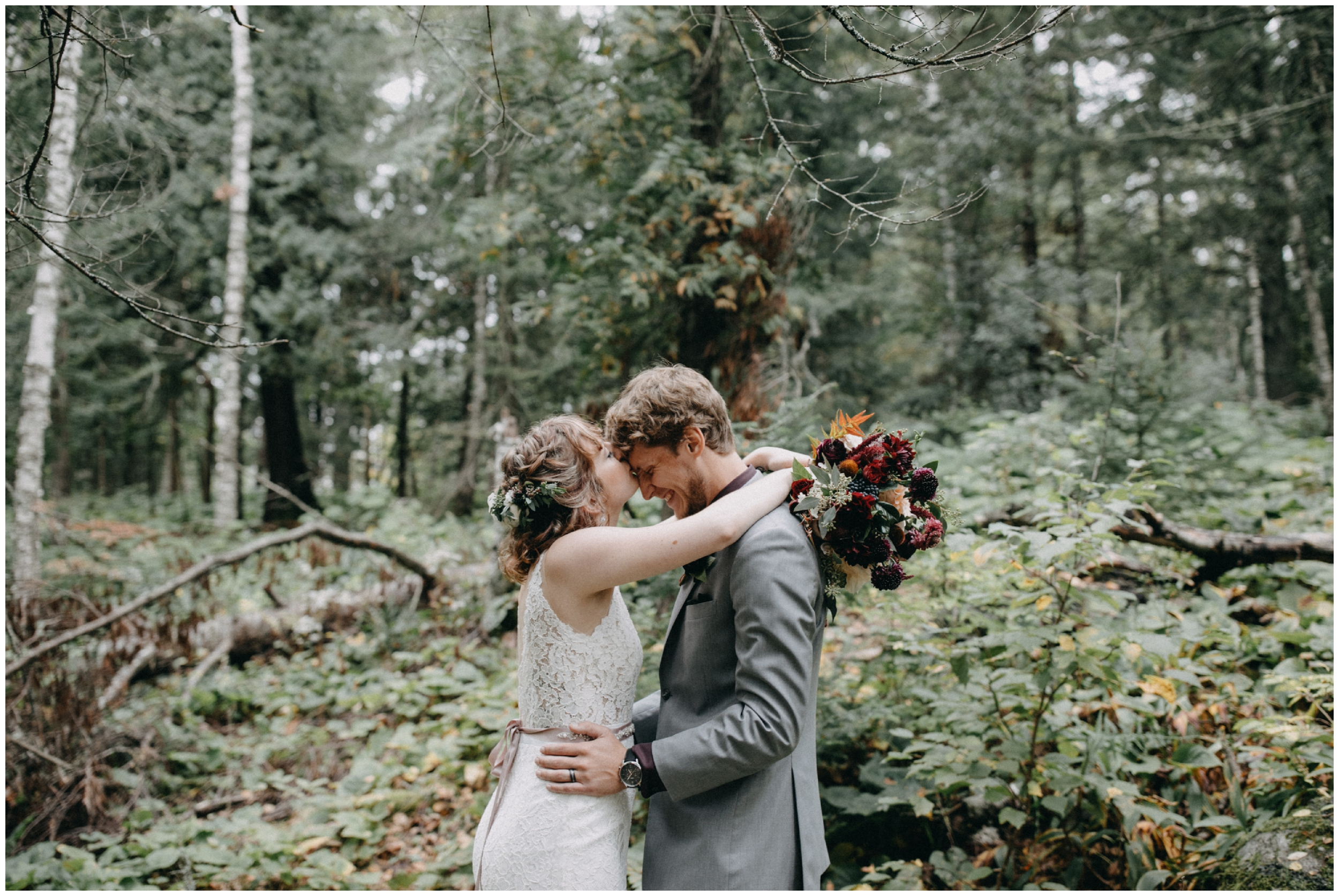 Bride and groom in the woods at Lester Park