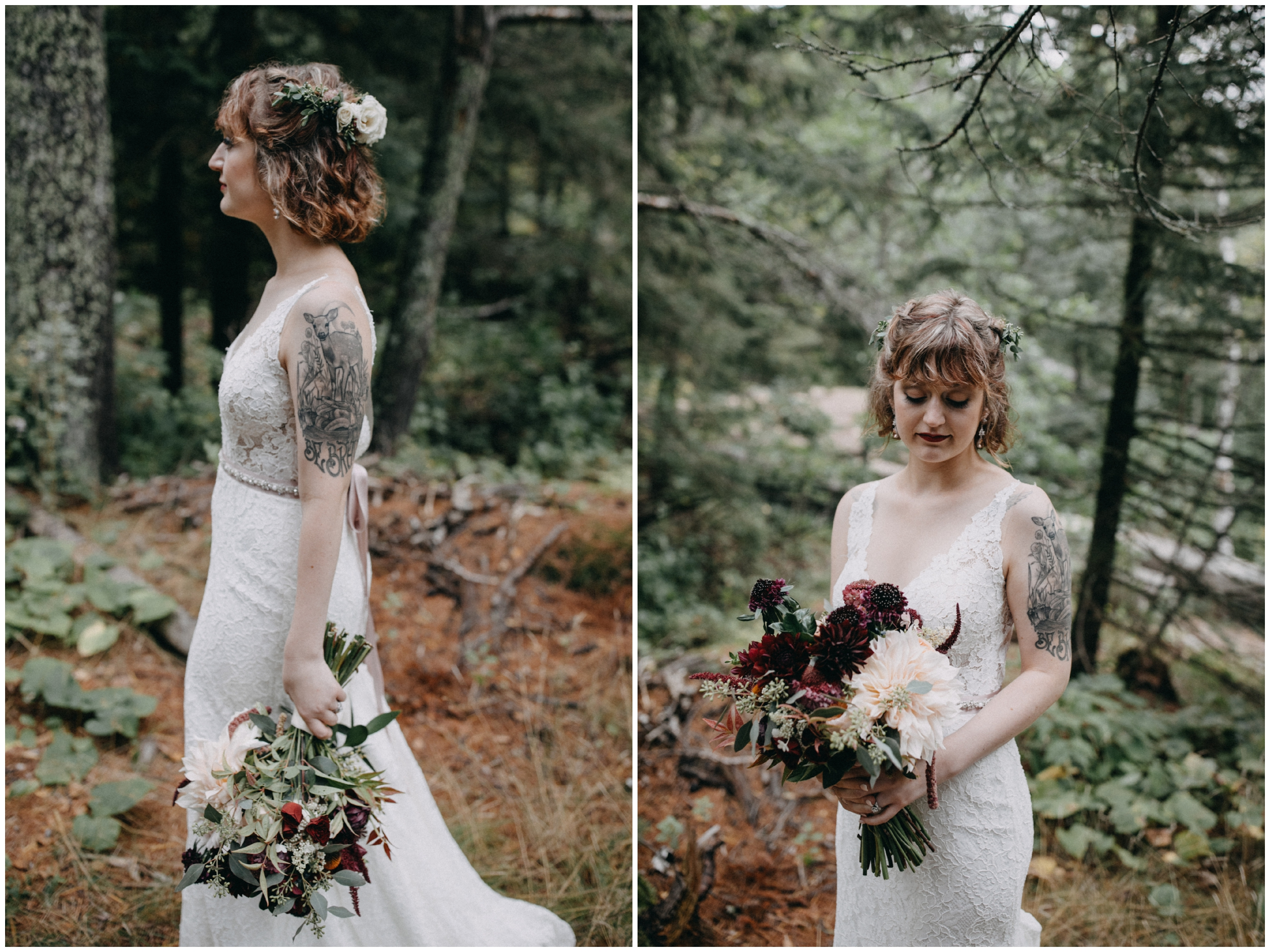 Eclectic and edgy bride at wedding in the woods