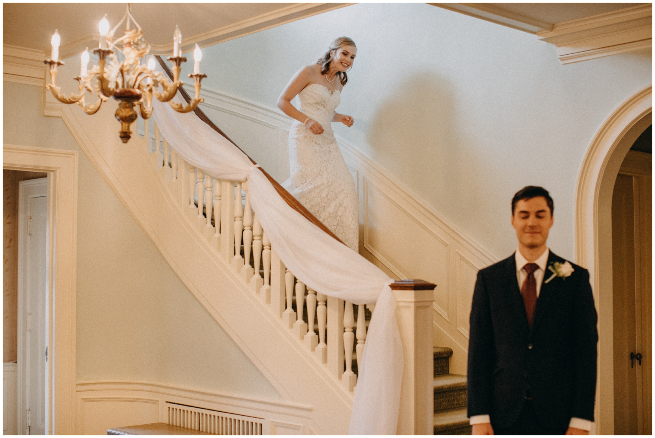Bride and Groom first look on staircase at the St Paul College Club