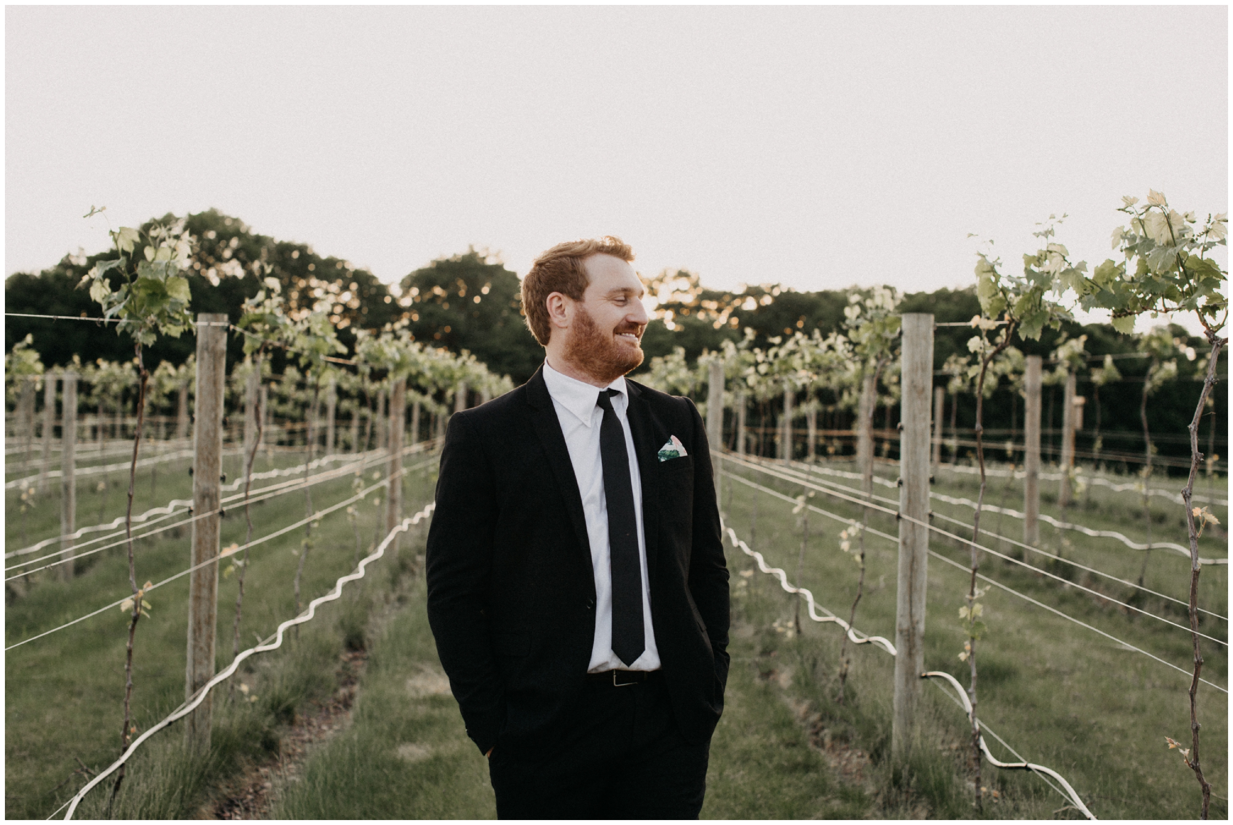 Groom in vineyard at 7 vines winery