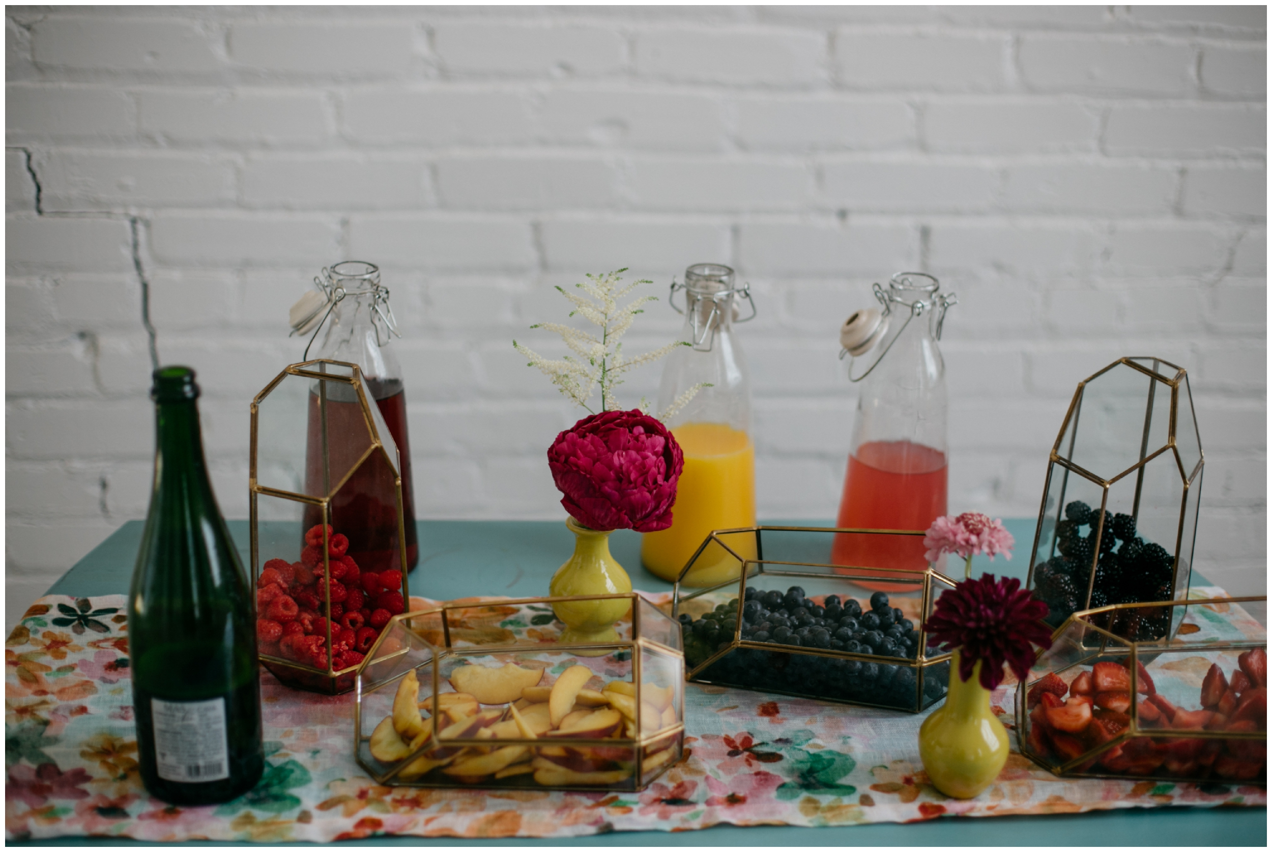 Floral decor inspired mimosa bar at the NP Event Space wedding