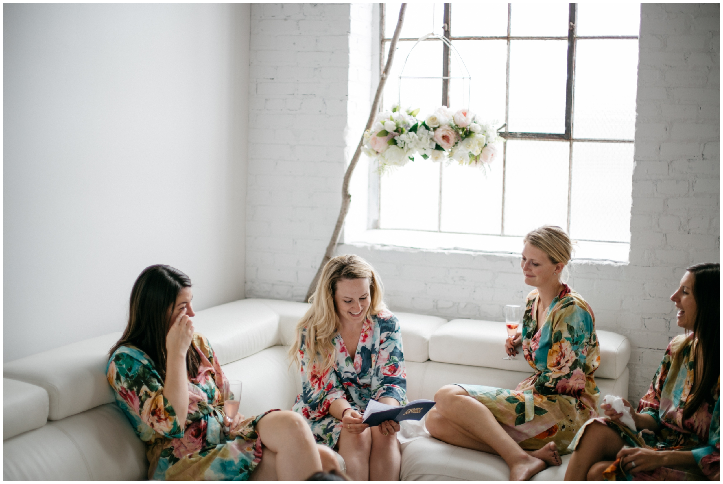 Bride and bridesmaids causally hanging out before NP Event Space wedding