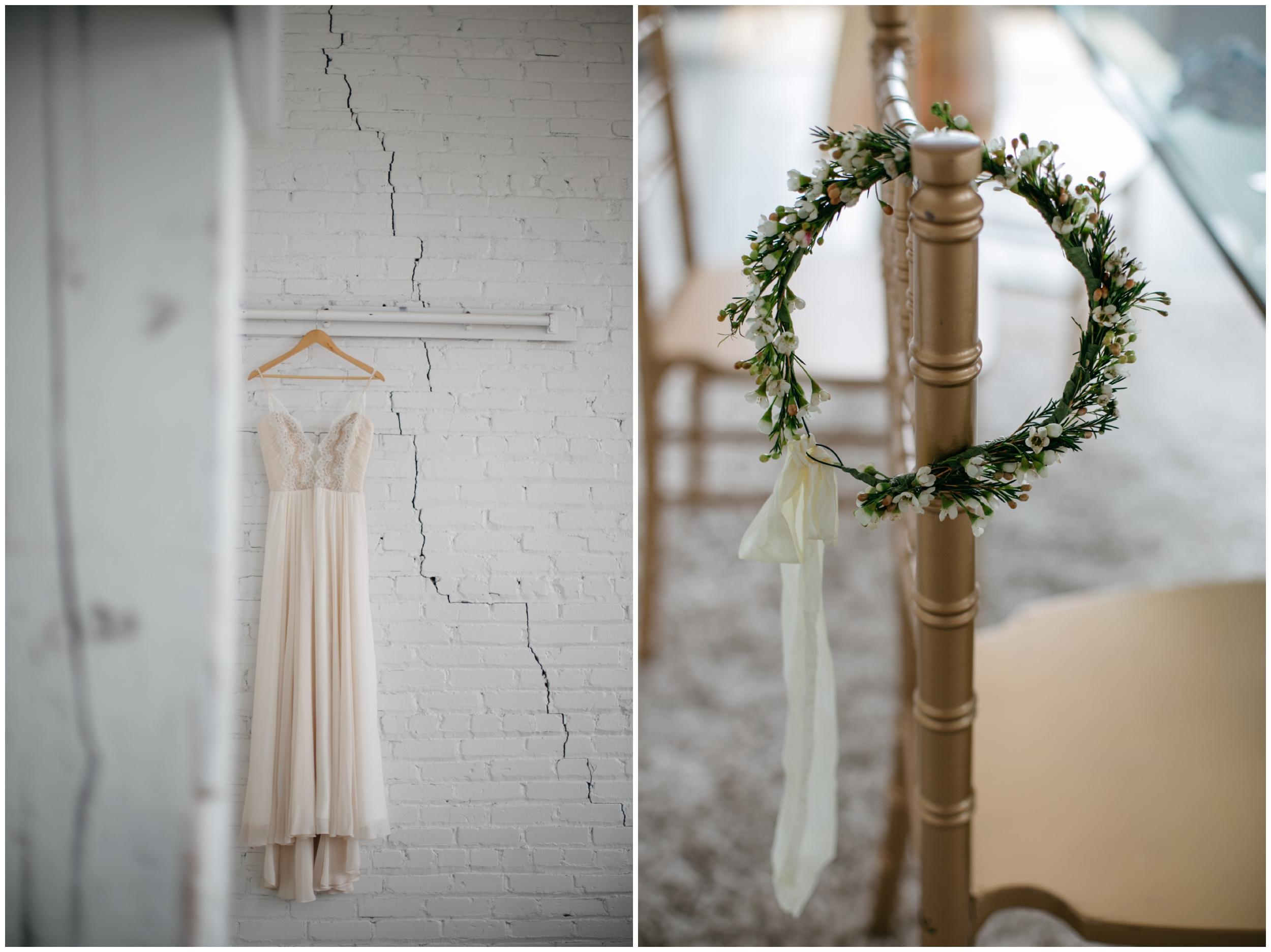 Romantic boho wedding dress hanging in bridal suite at the NP Event Space