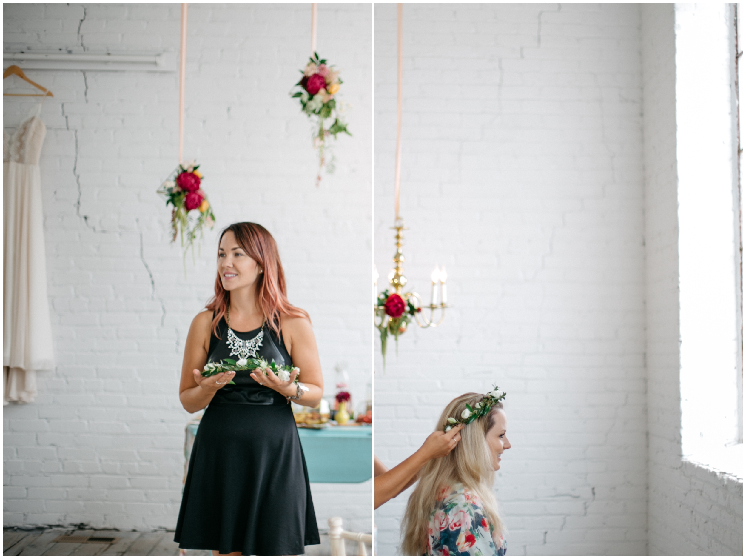 Bride putting on floral crown for boho wedding
