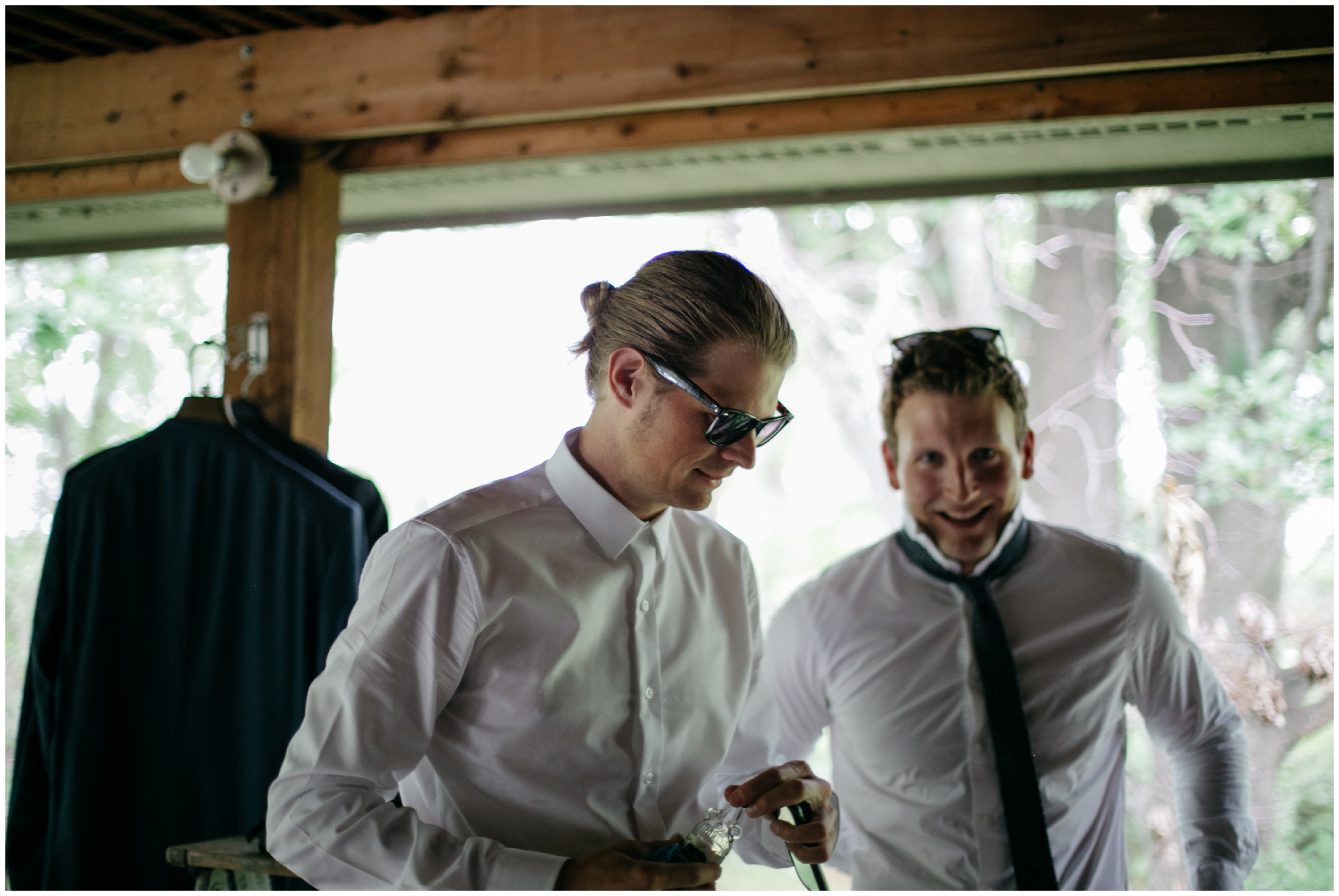 Groom and Groomsmen getting ready at the Whitely Creek Inn