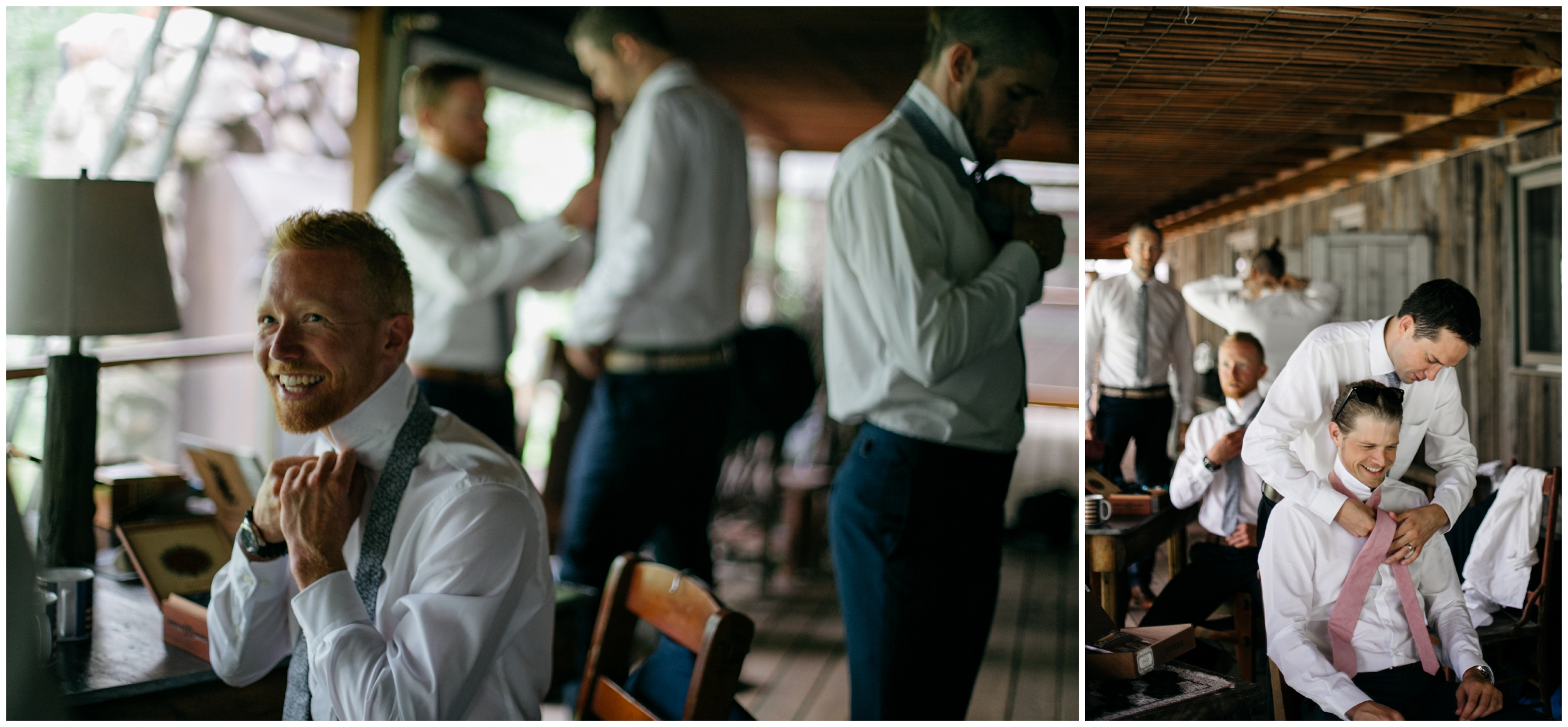 Groomsmen getting ready for wedding at the Whitely Creek Inn