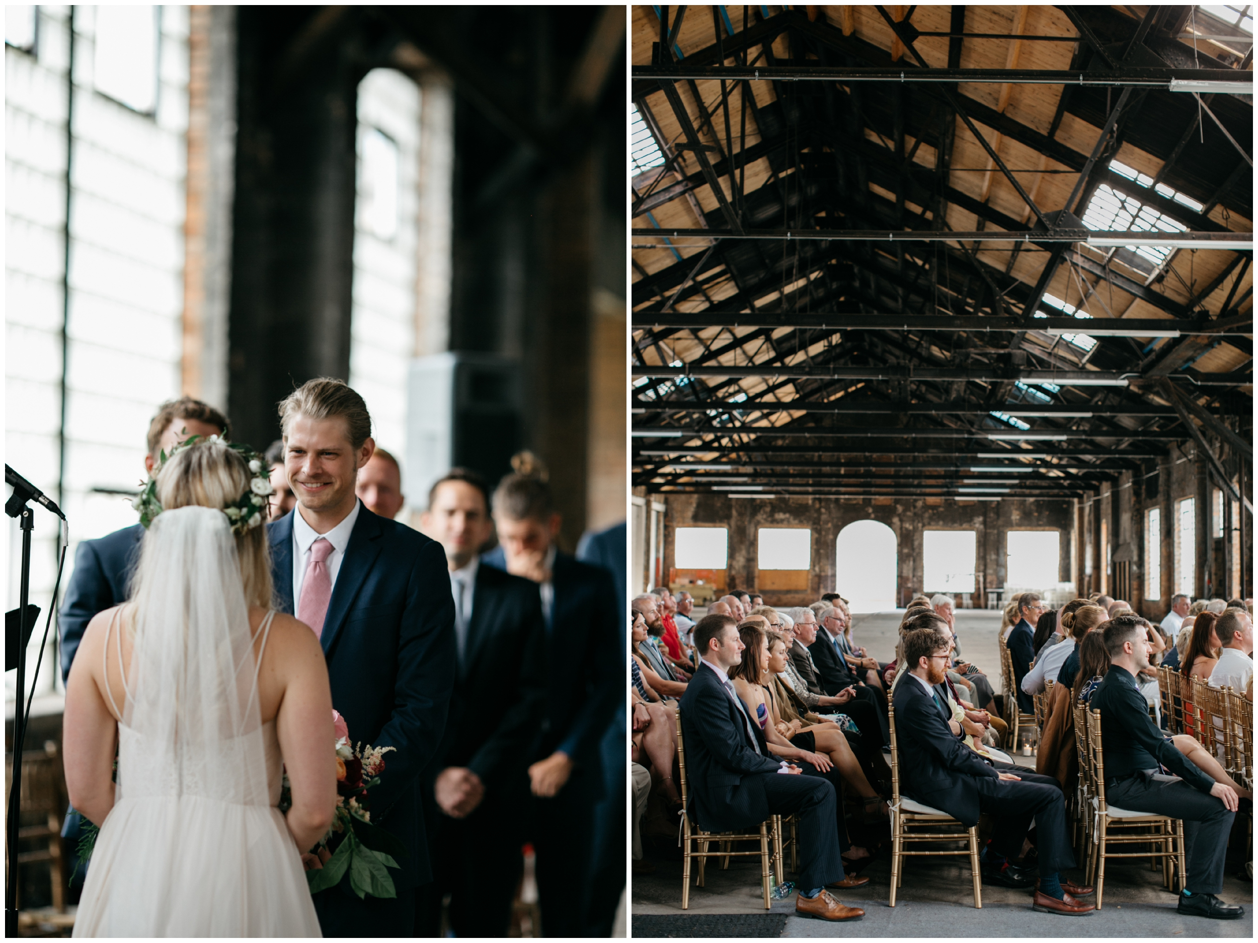 Industrial wedding ceremony at the NP Event Space in Brainerd Minnesota