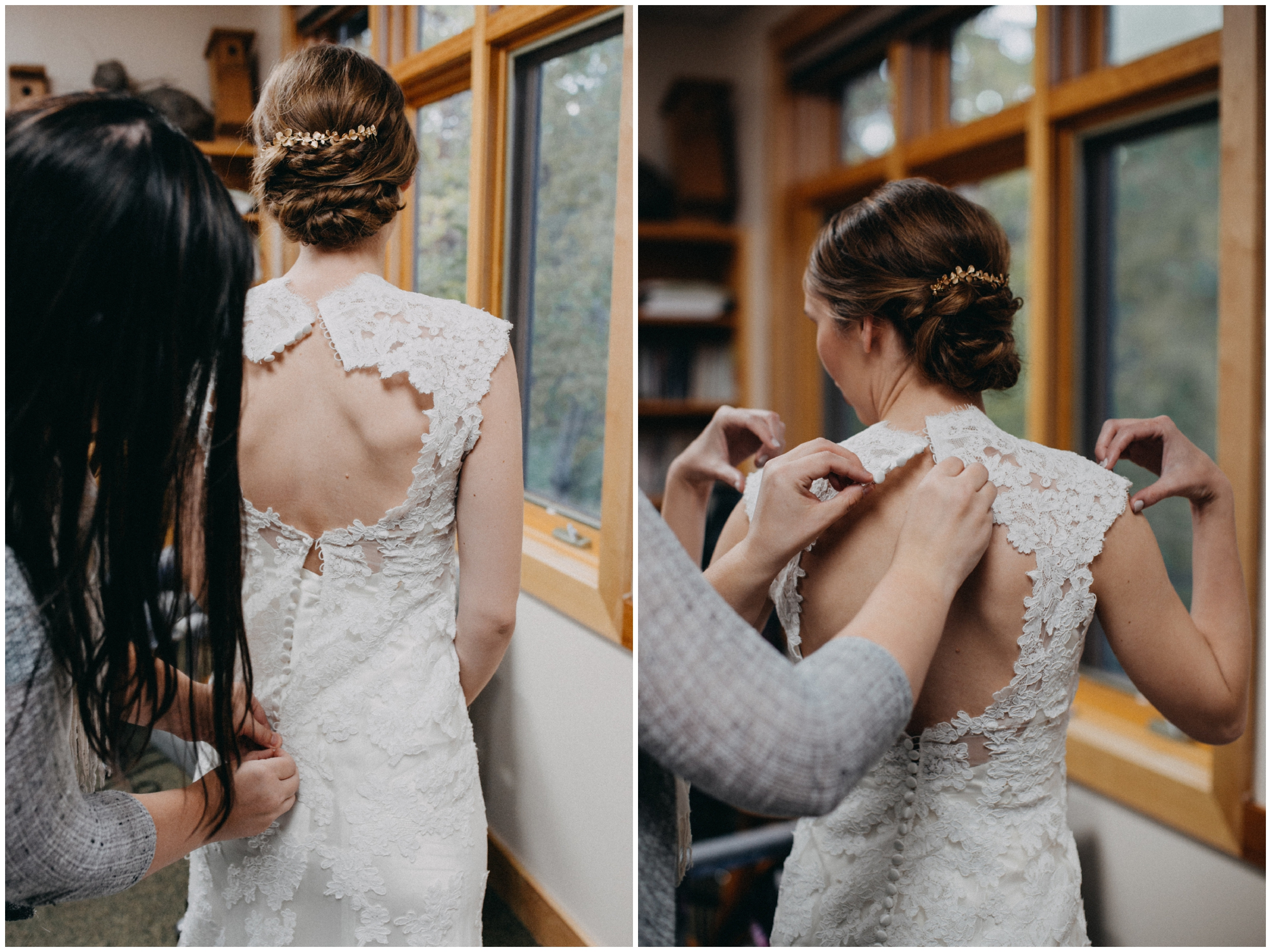 Bride getting into vintage lace wedding dress at the Northland Arboretum