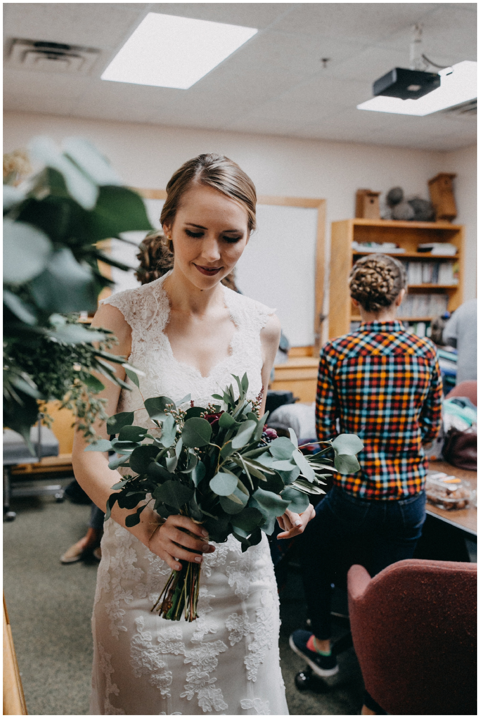 Bride with eucalyptus wedding bouquet in Brainerd Minnesota