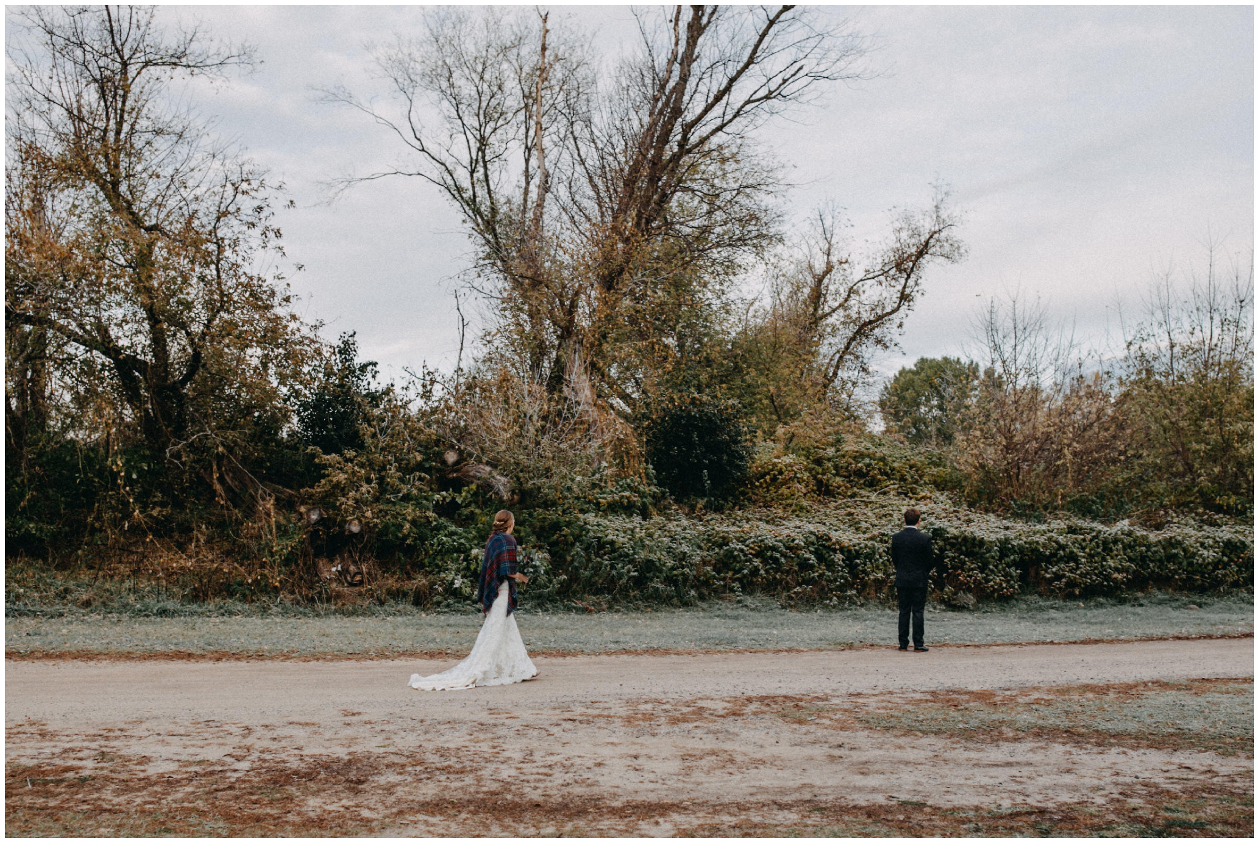 Frosty fall morning wedding at the Northland Arboretum