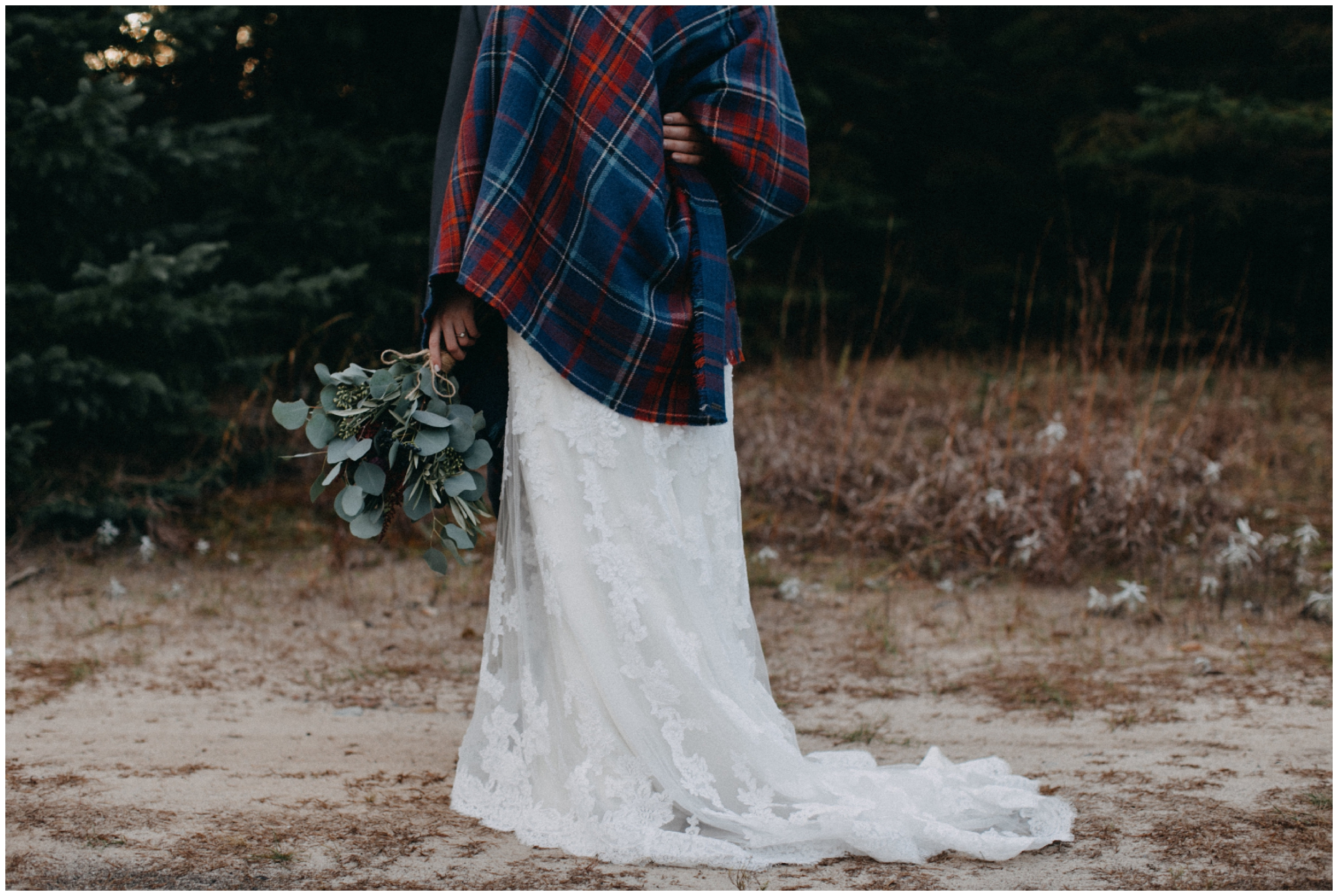 Fall wedding style with flannel shawl at the Northland Arboretum