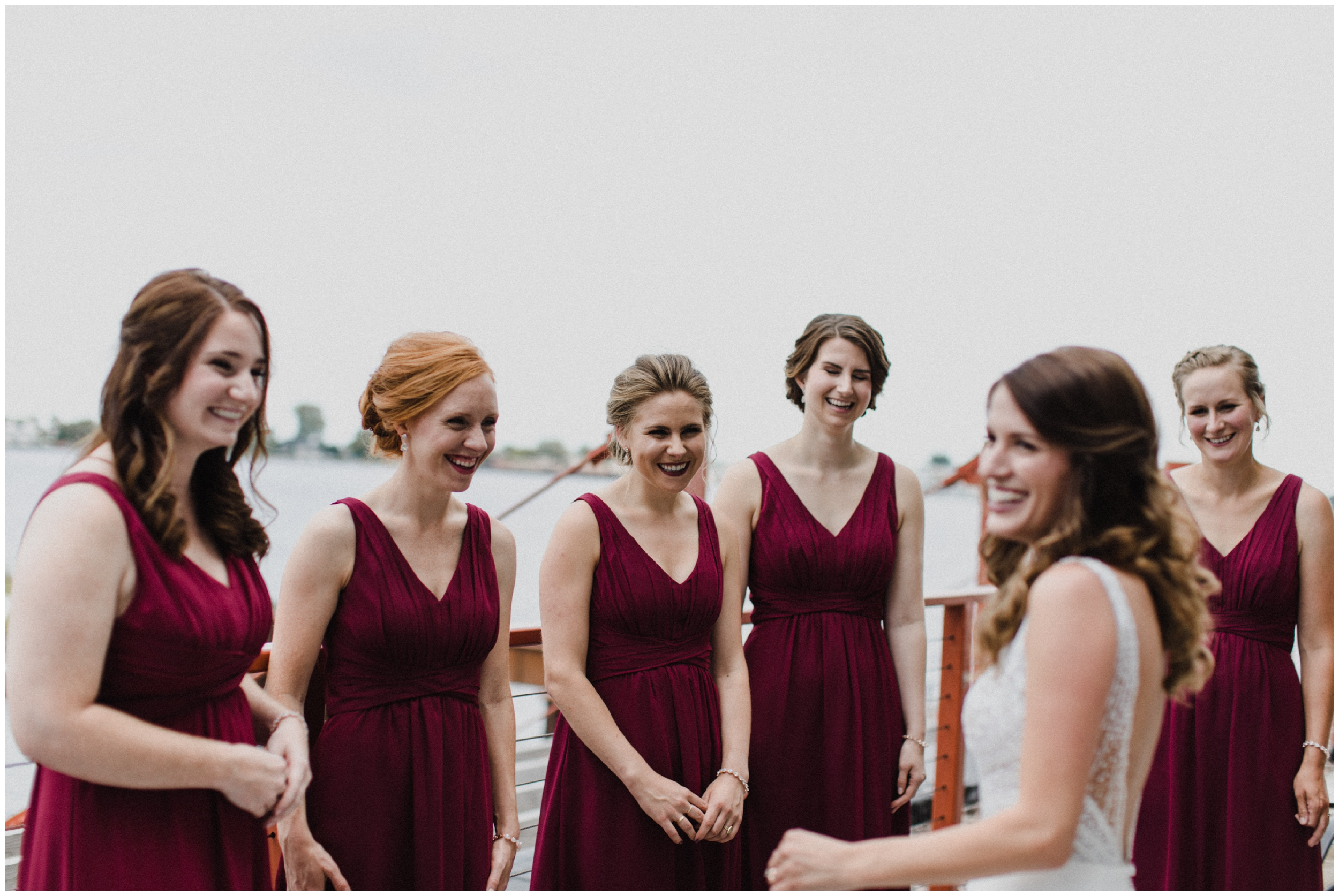 Bride and bridesmaids on north shore in Duluth Minnesota