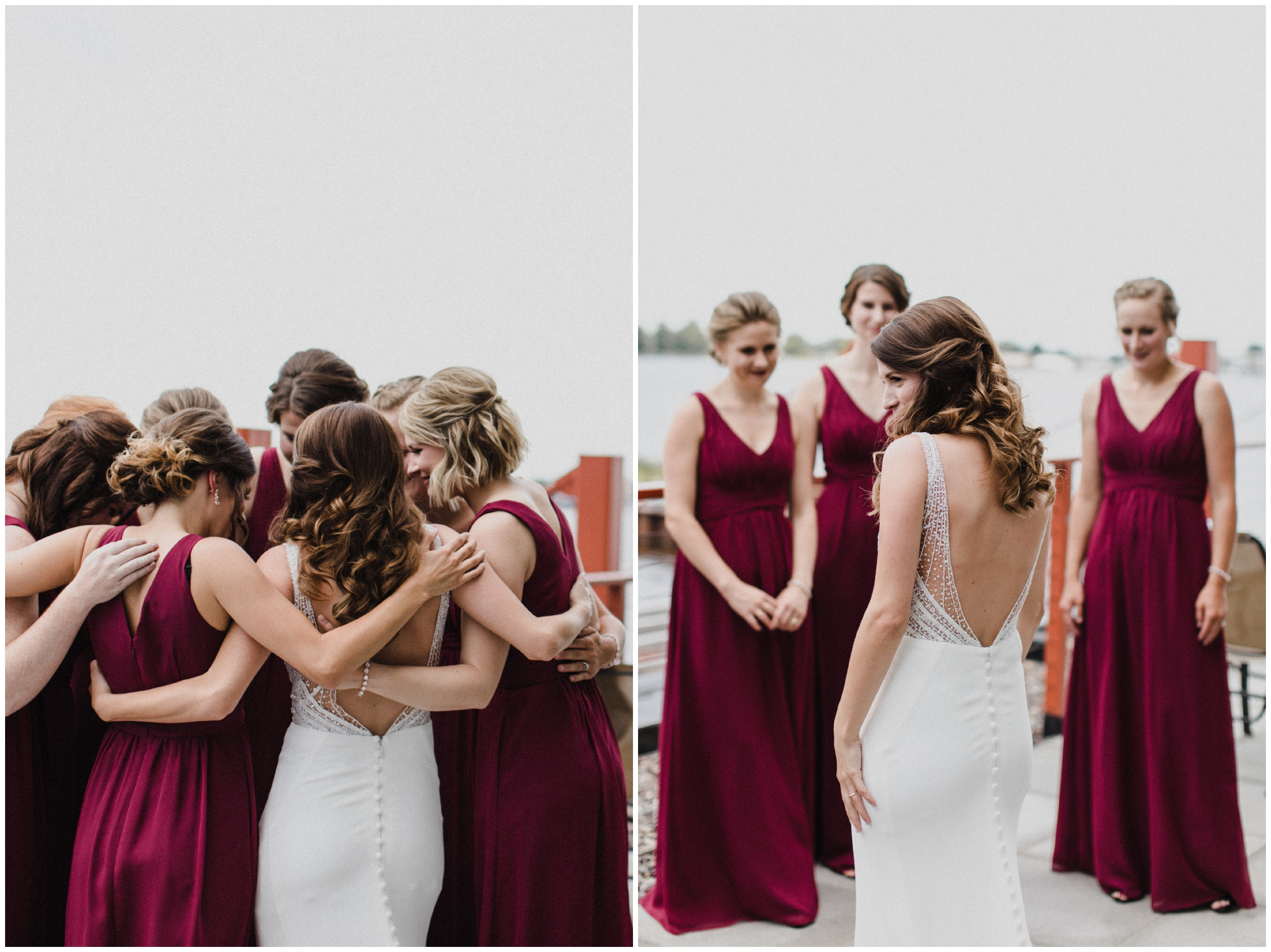 Bride with bridesmaids at Duluth MN wedding