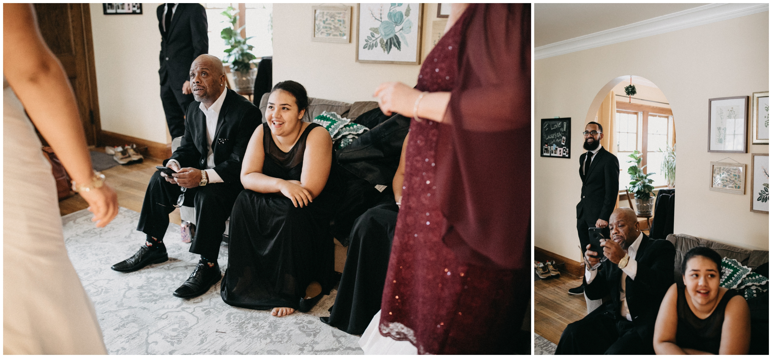 Bride revealing wedding dress to family at her home in Minneapolis