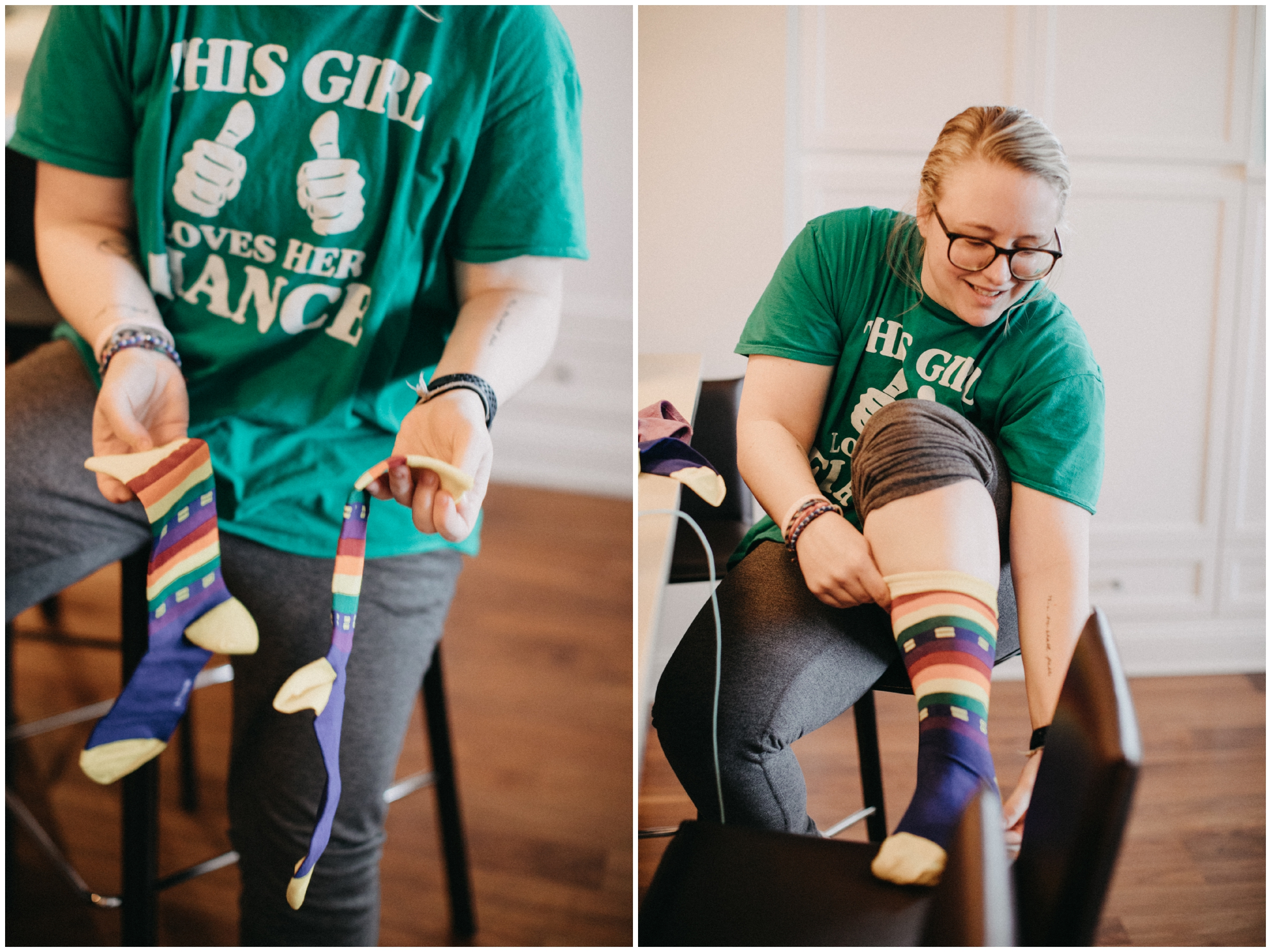 Bride putting on her pride inspired rainbow wedding socks