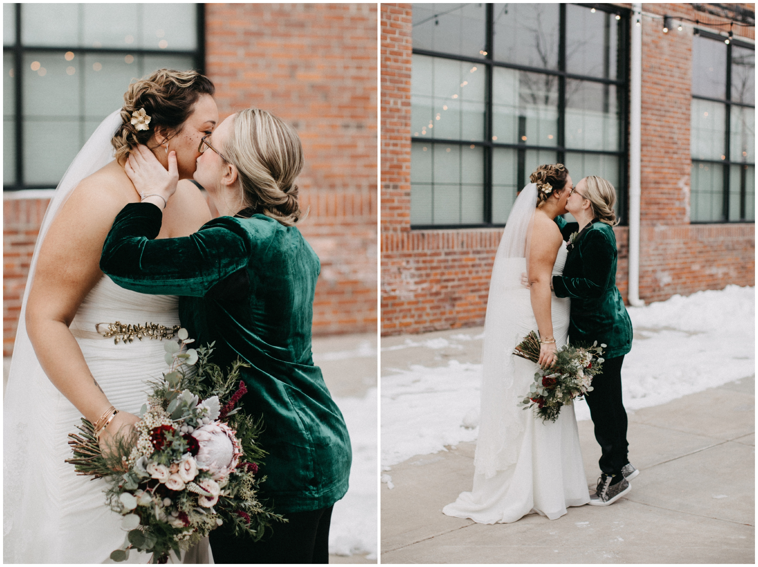 Outdoor winter wedding at Paikka in St Paul
