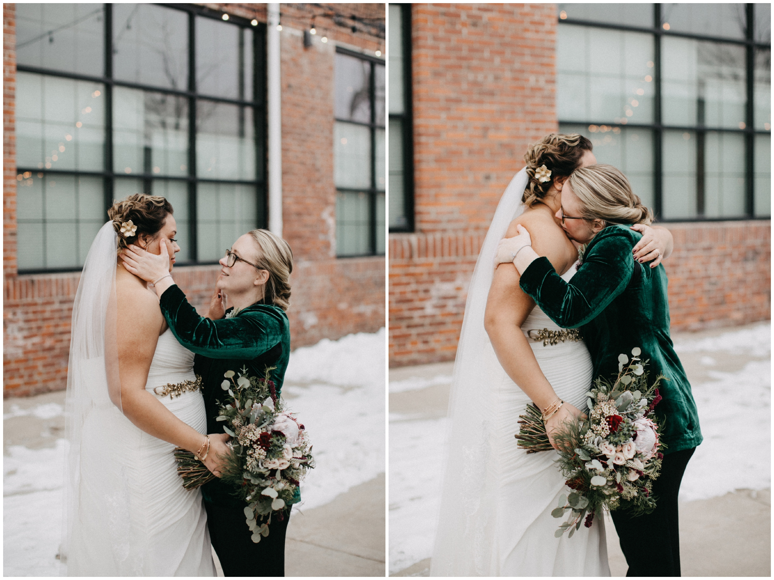 Bride wearing green velvet suit during winter wedding at Paikka