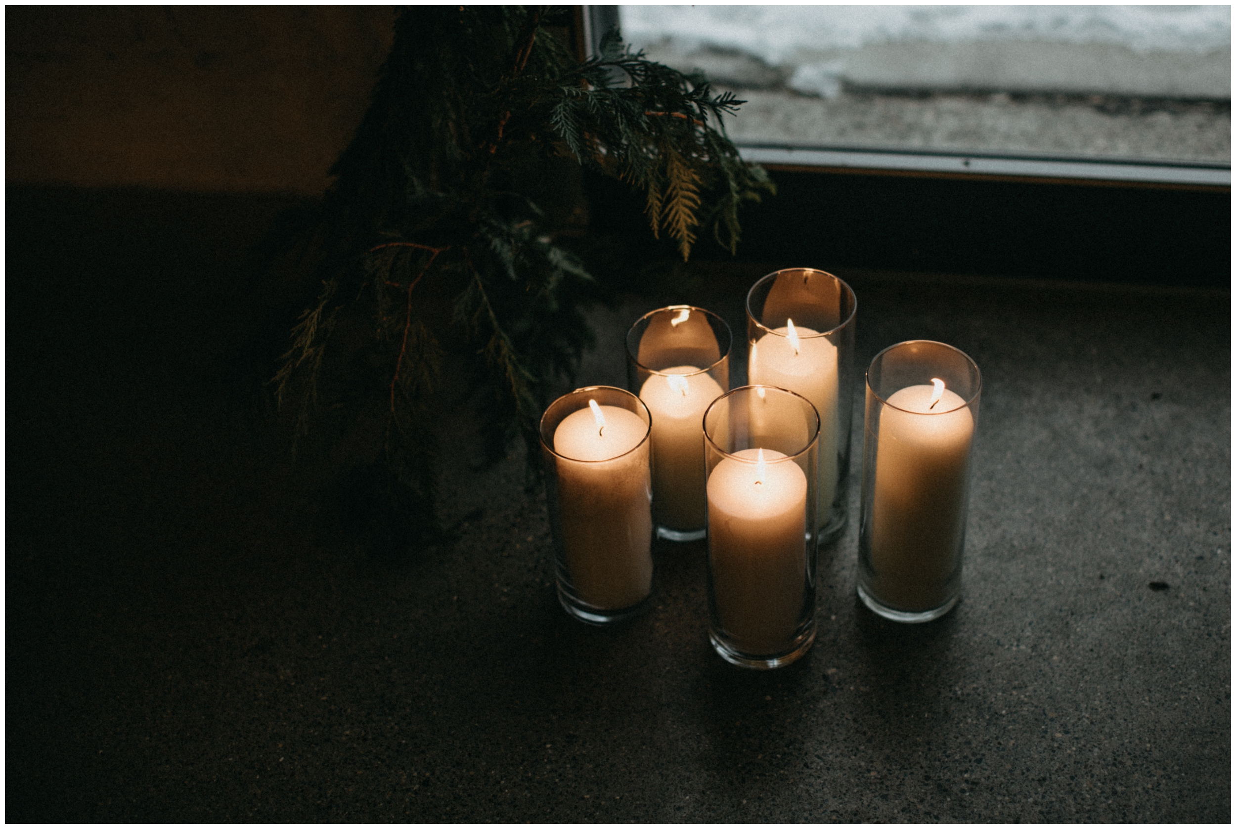Candlelit winter wedding ceremony at Paikka in St Paul