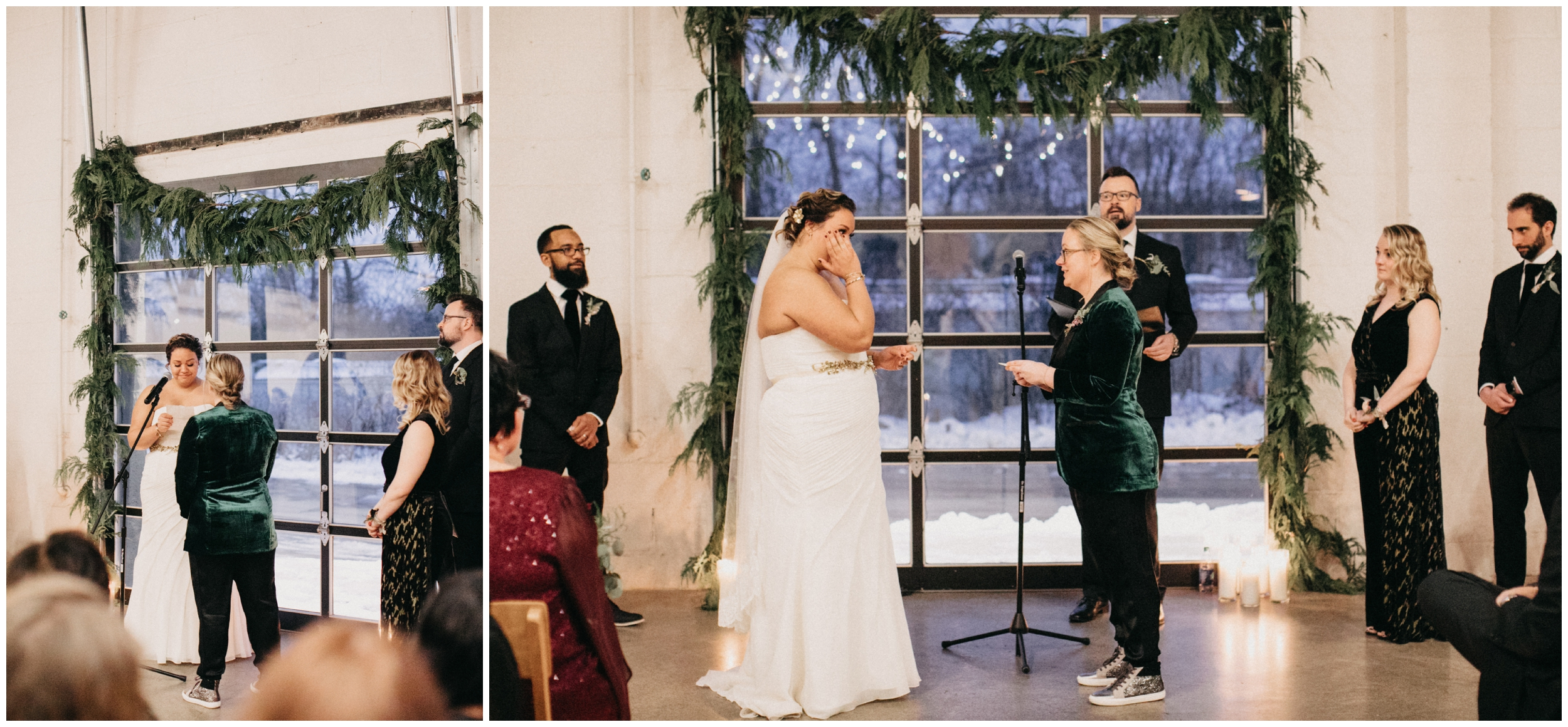 Indoor winter wedding ceremony at Paikka in St Paul Minnesota
