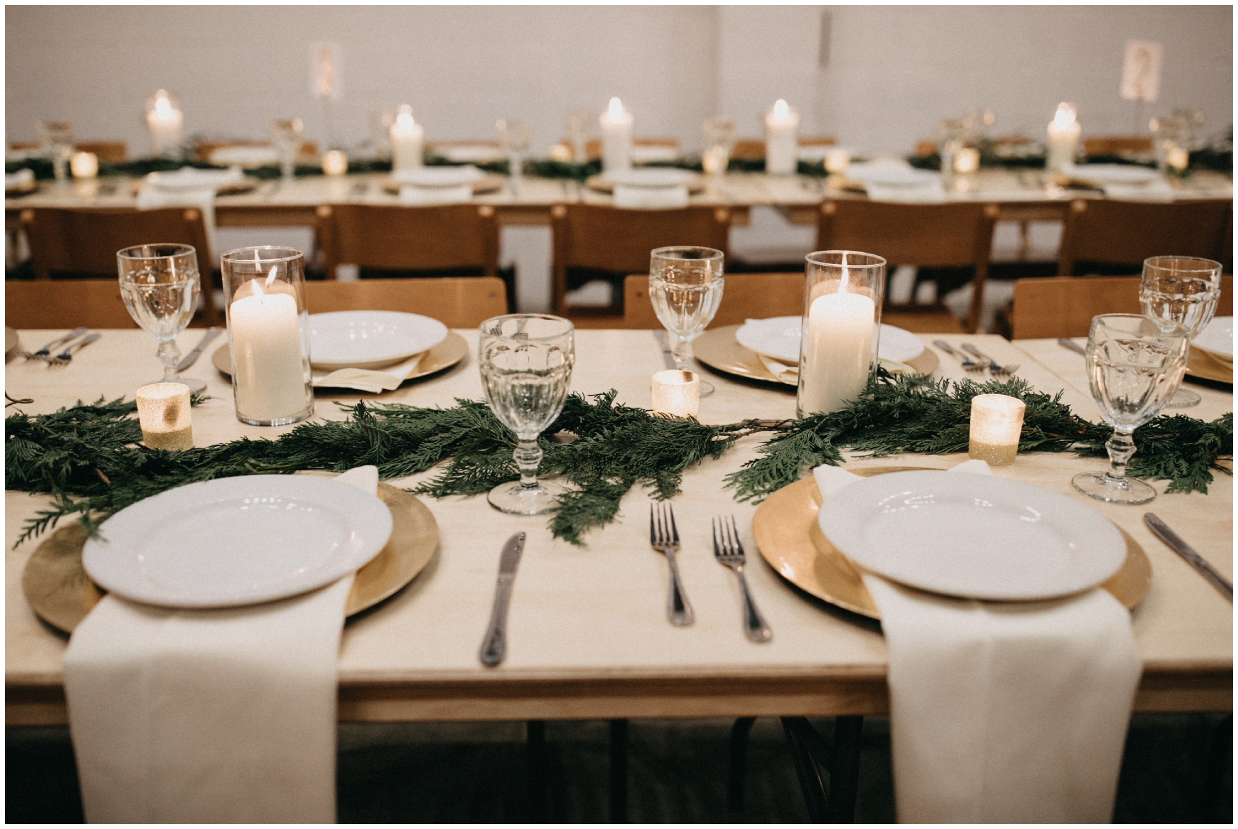 Simple chic winter wedding table setting at Paikka
